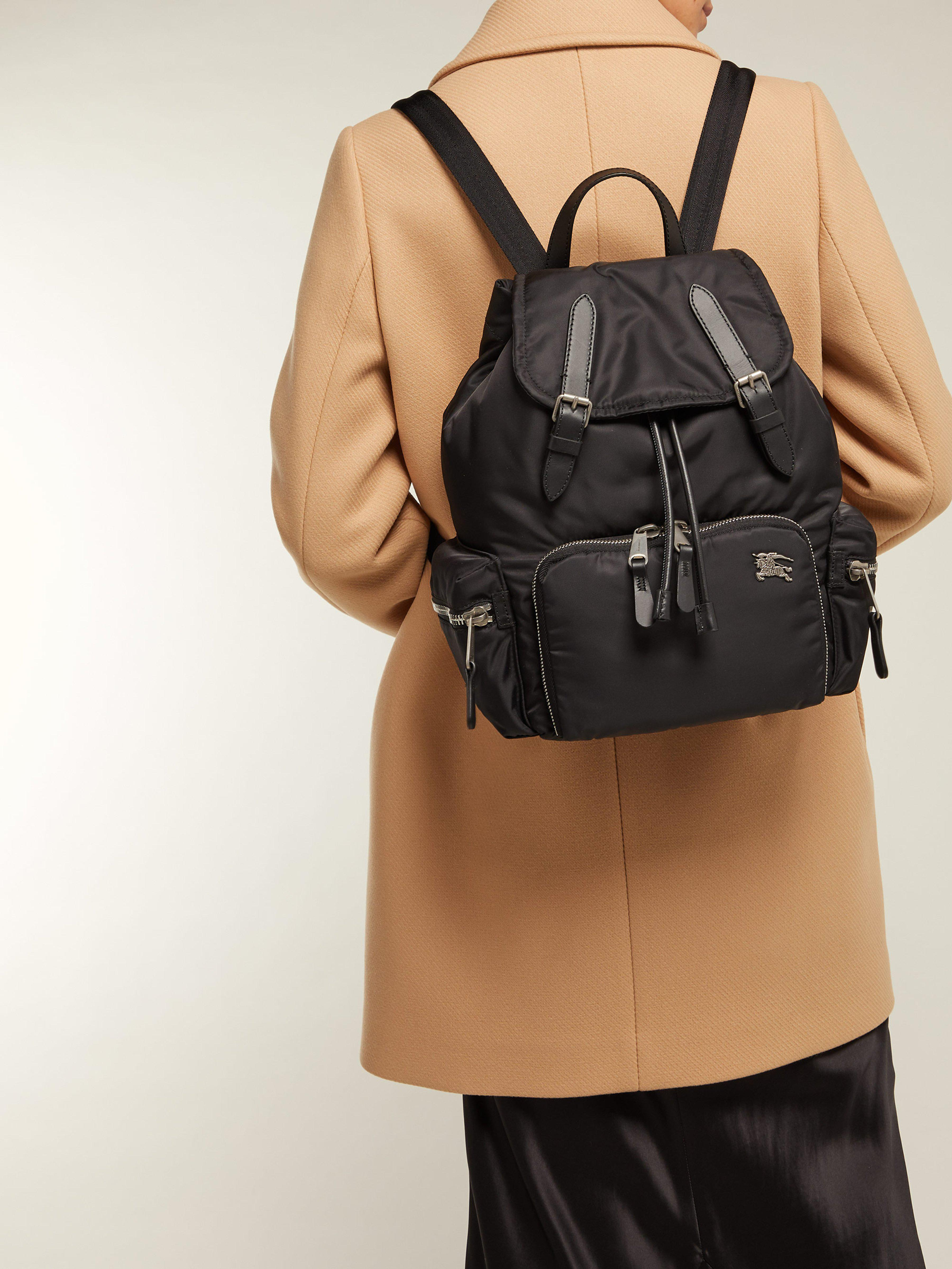 71af52d21261 Burberry Medium Nylon And Leather Backpack in Black - Lyst