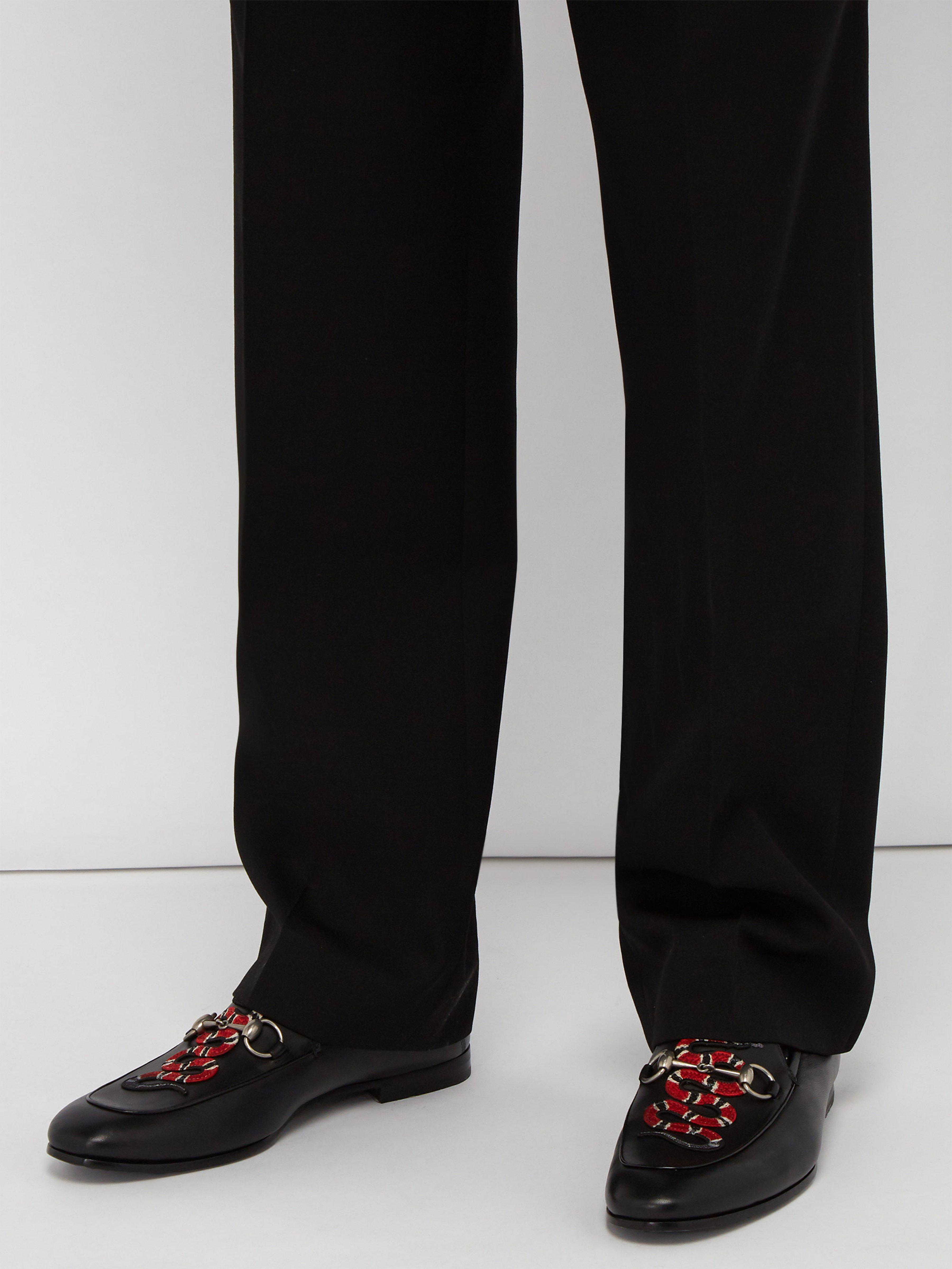0d7b70d13b4 Gucci Brixton Kingsnake Embroidered Leather Loafers in Black for Men - Lyst