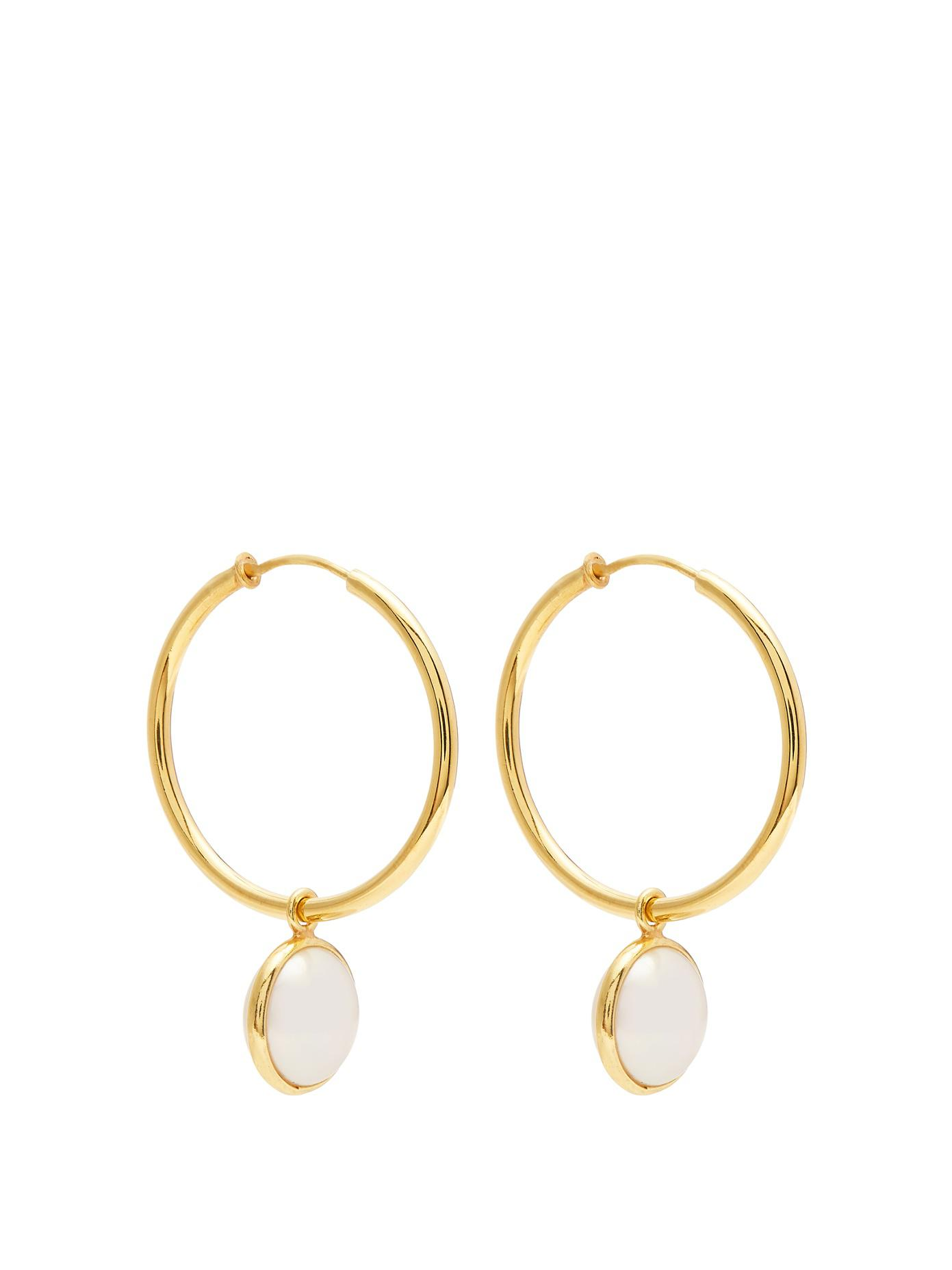 Theodora Warre Pearl-embellished gold-plated hoop earrings vTDPf