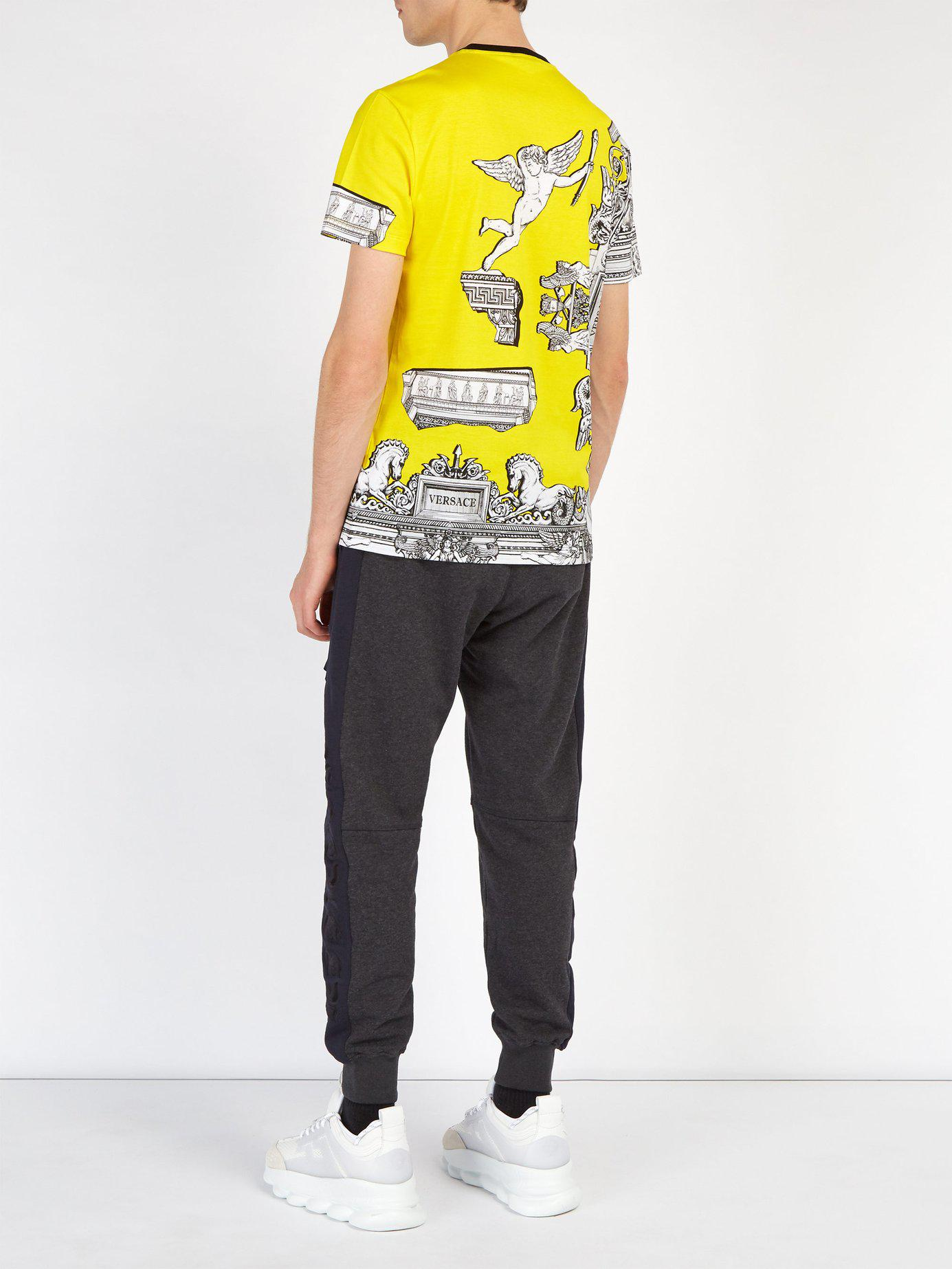 170b64a7 Versace Baroque Print Pegasus T Shirt in Yellow for Men - Save 13% - Lyst