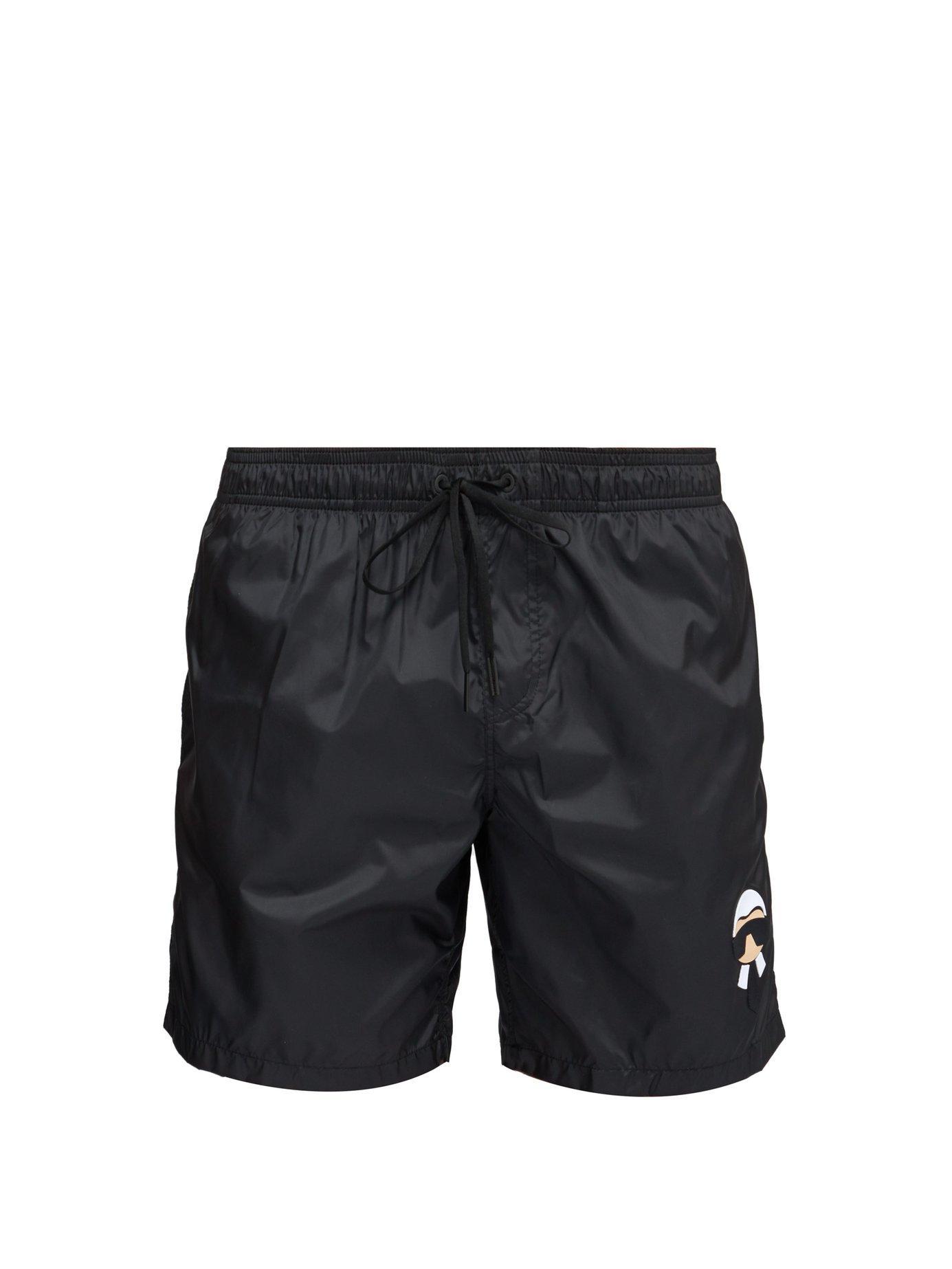 e95500952a Lyst - Fendi Karlito Appliqué Swim Shorts in Black for Men