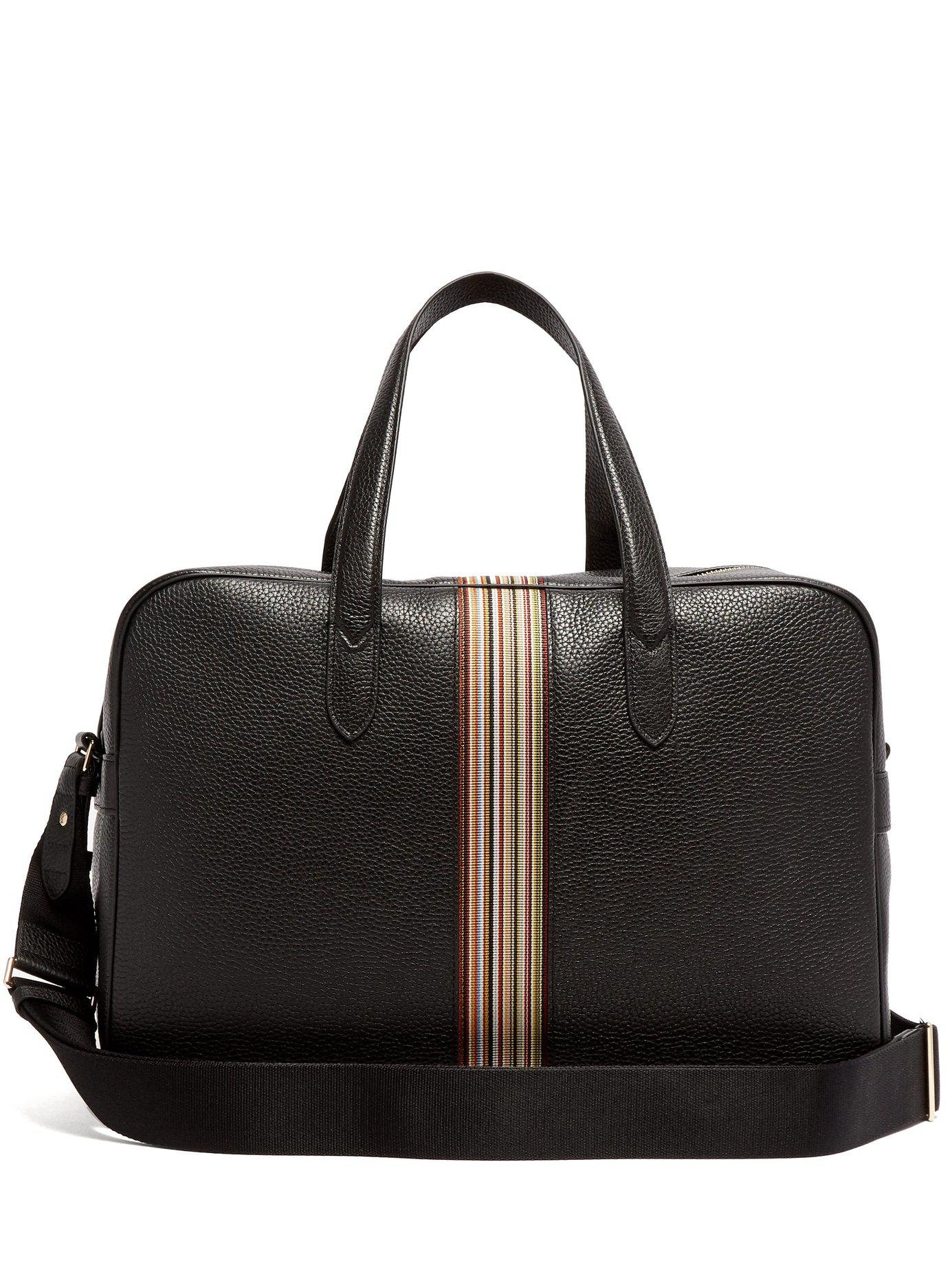 e4f88b15920 Lyst - Paul Smith Signature Stripe Leather Weekend Bag in Black for Men
