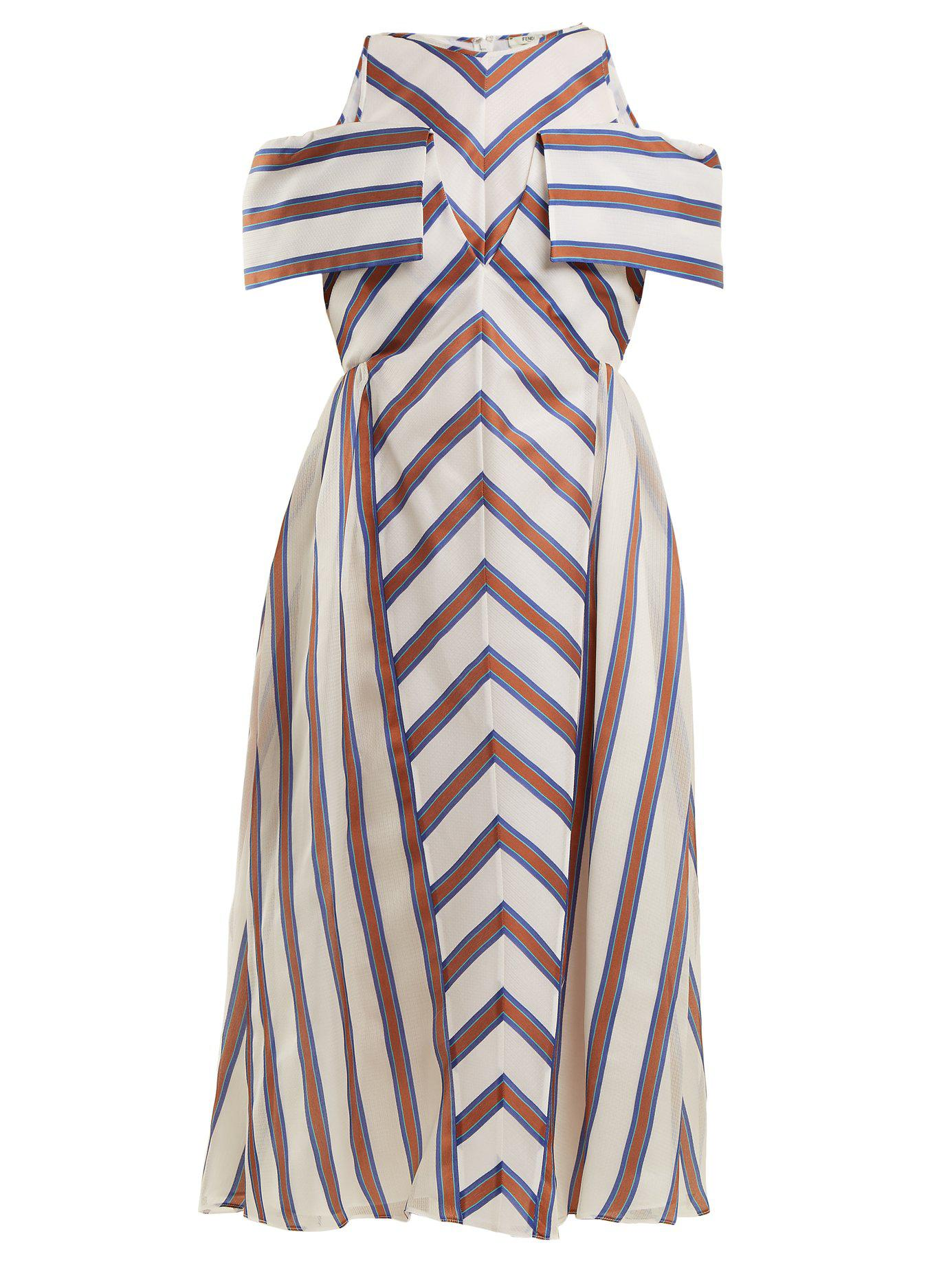 4f045a91a29b Fendi - Brown Striped Off The Shoulder Silk Blend Dress - Lyst. View  fullscreen