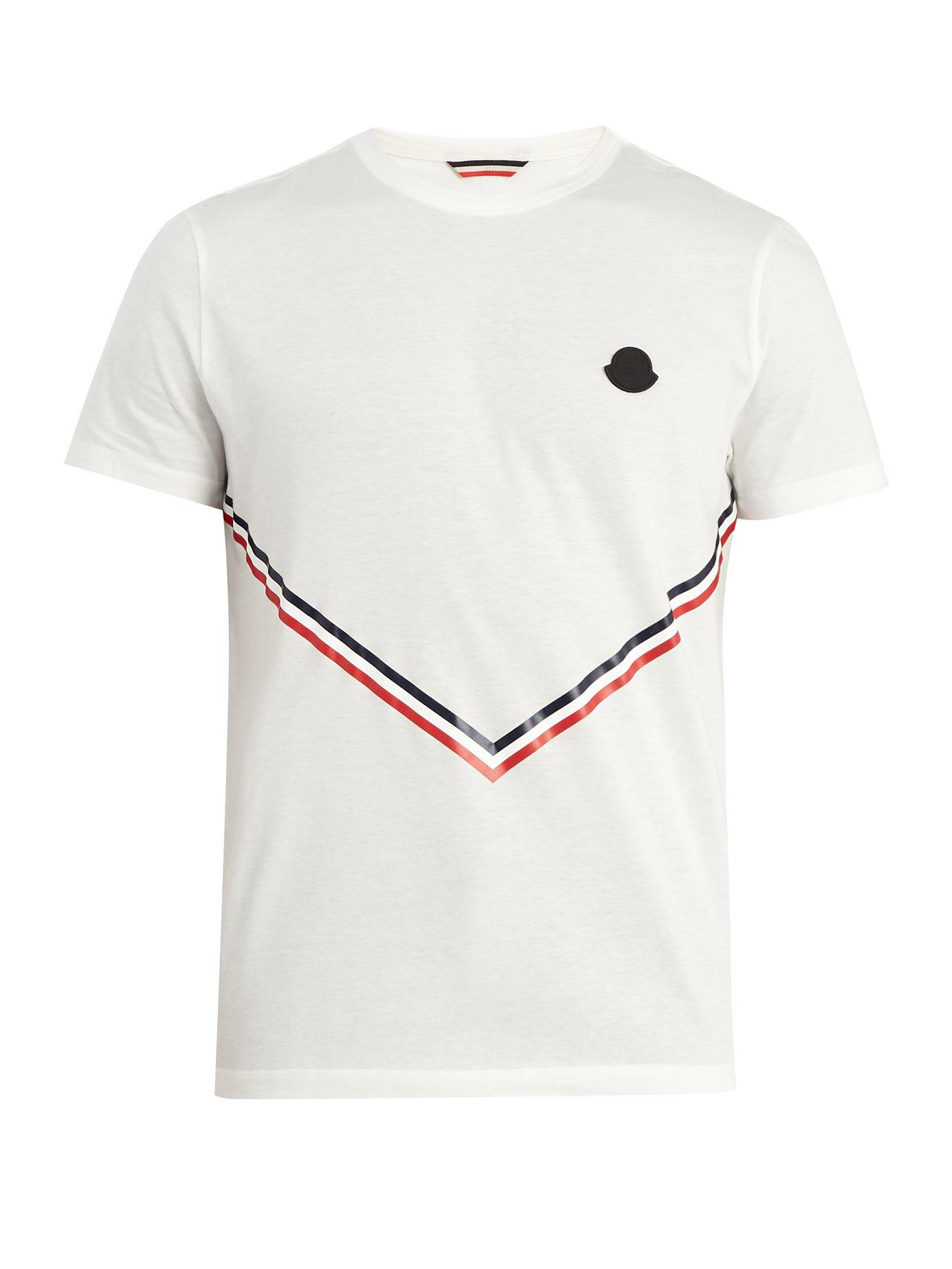 a9a4f12d2 Lyst - Moncler Stripe Print Cotton T Shirt in White for Men