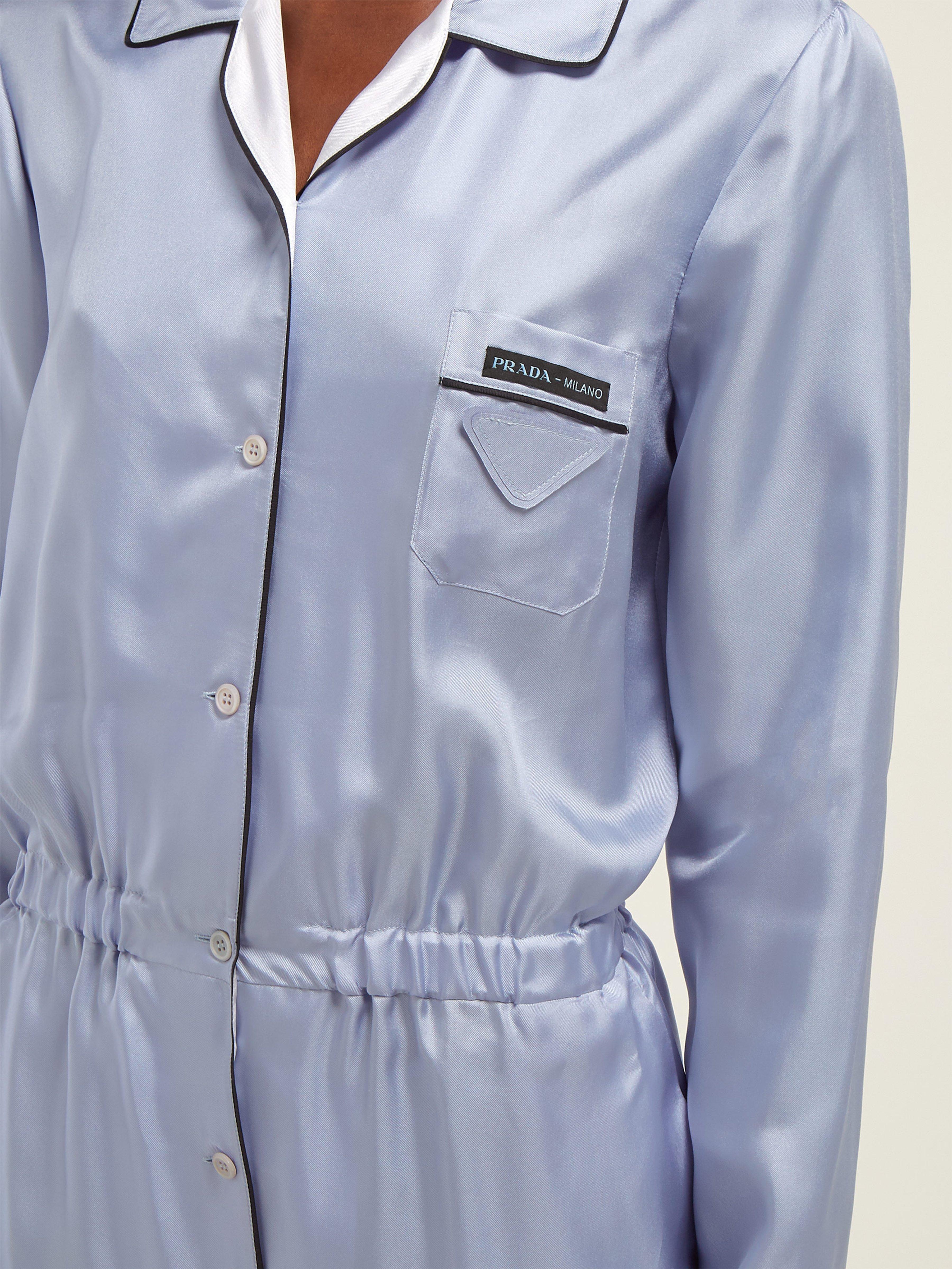 b19482366f9f Prada - Blue Silk-twill Jumpsuit - Lyst. View fullscreen