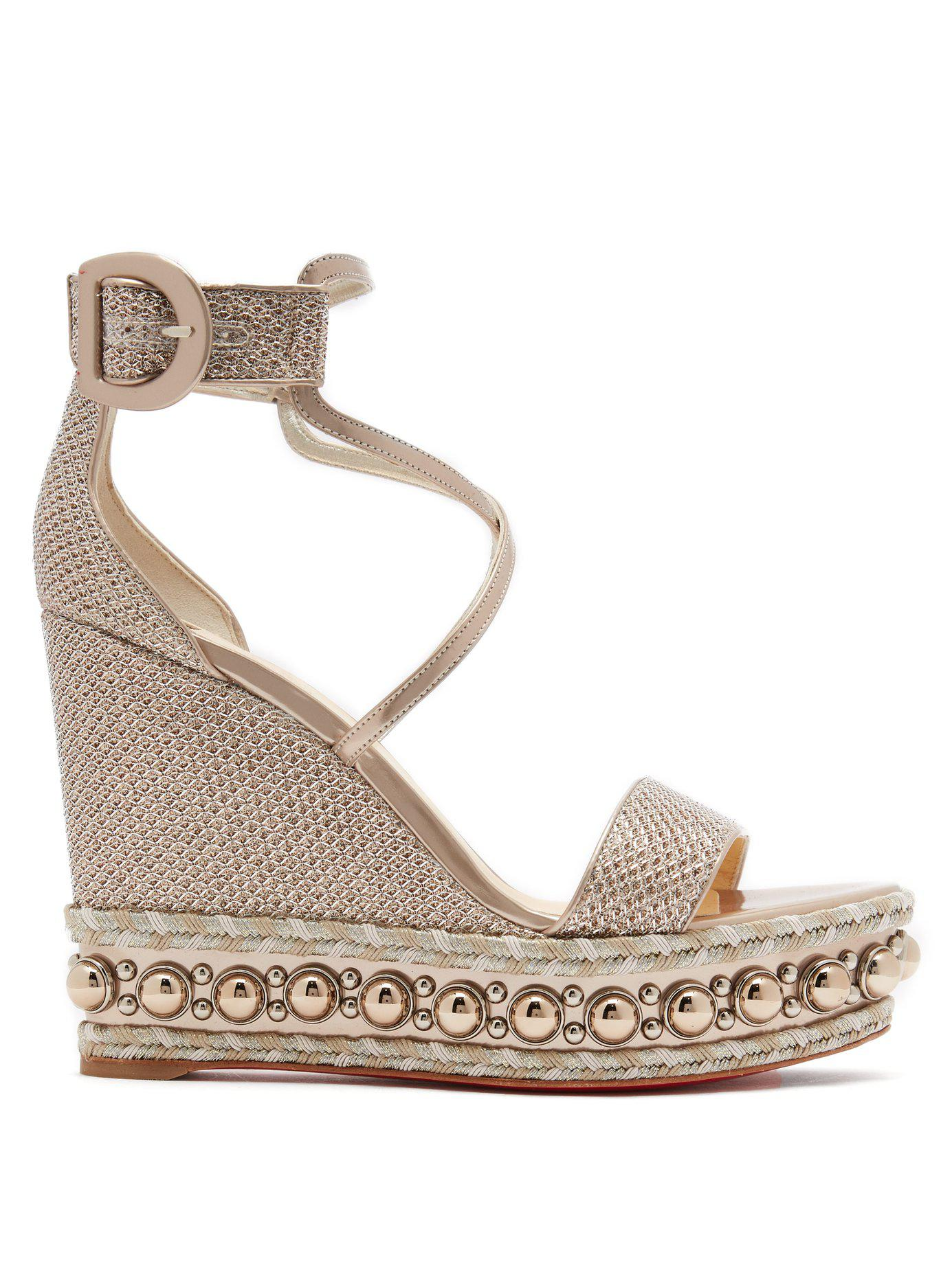 7865f865f555 Christian Louboutin. Women s Metallic Chocazeppa 120 Leather Wedge Sandals
