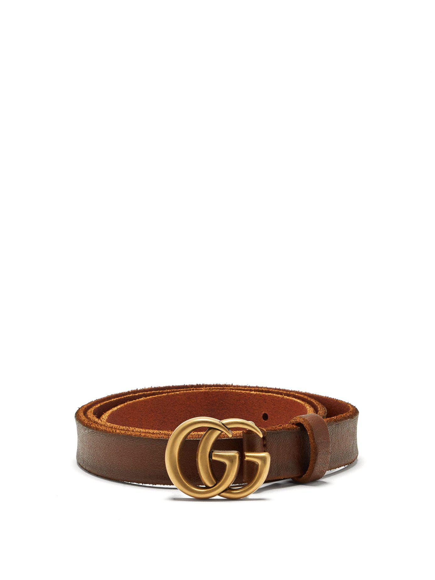 038232e13d5 Lyst - Gucci Gg Logo 2cm Leather Belt in Brown