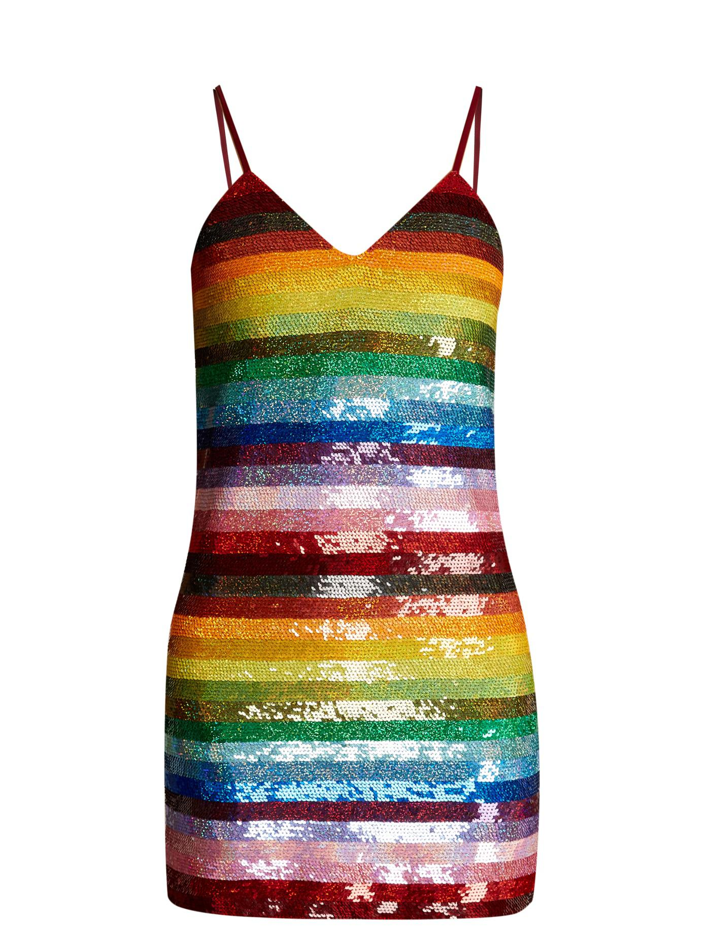 66f0fb2261dab Ashish Rainbow-striped Sequin-embellished Silk Mini Dress - Lyst