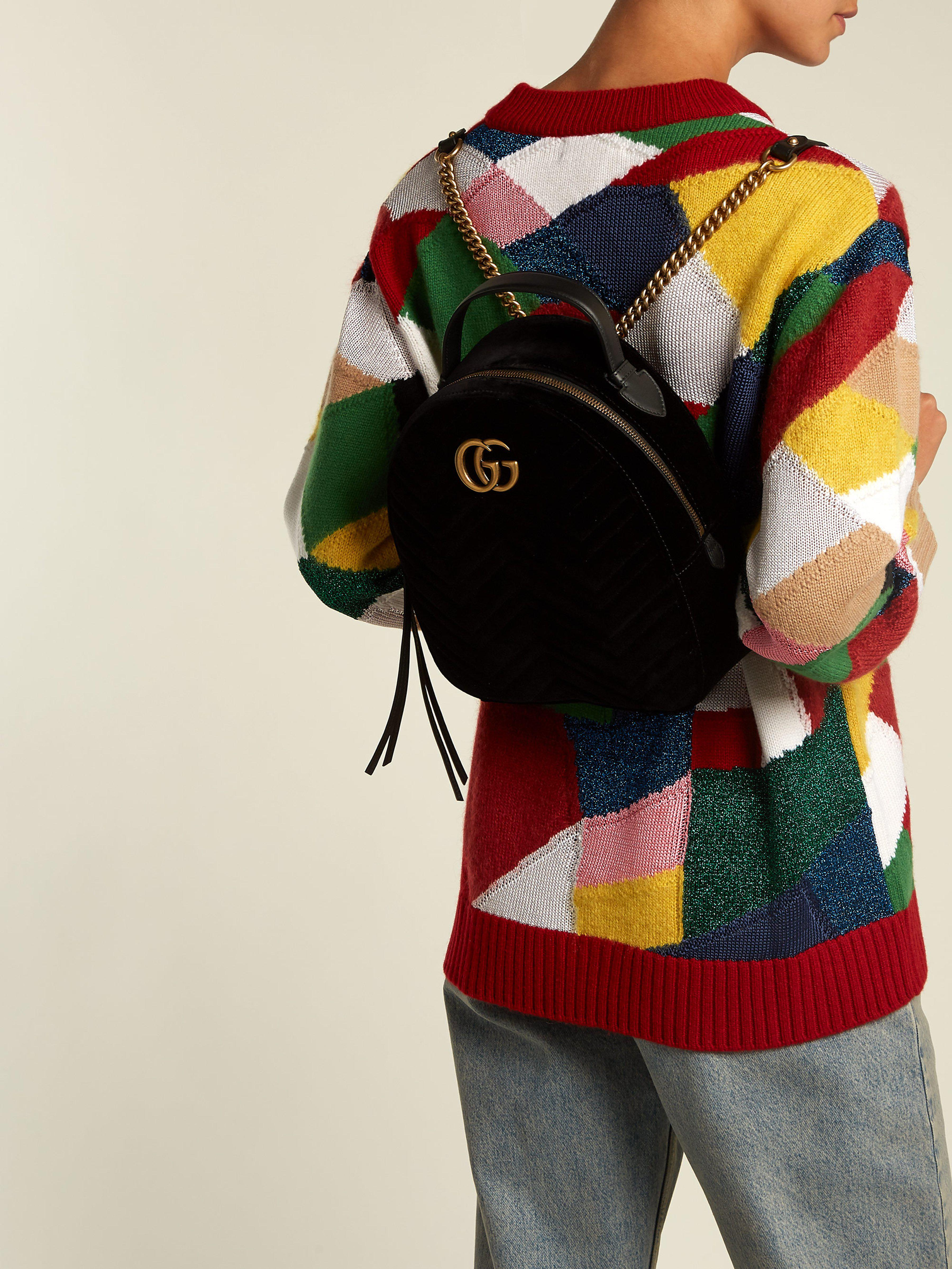 28547ca40a3 Gucci Gg Marmont Velvet Backpack - Lyst