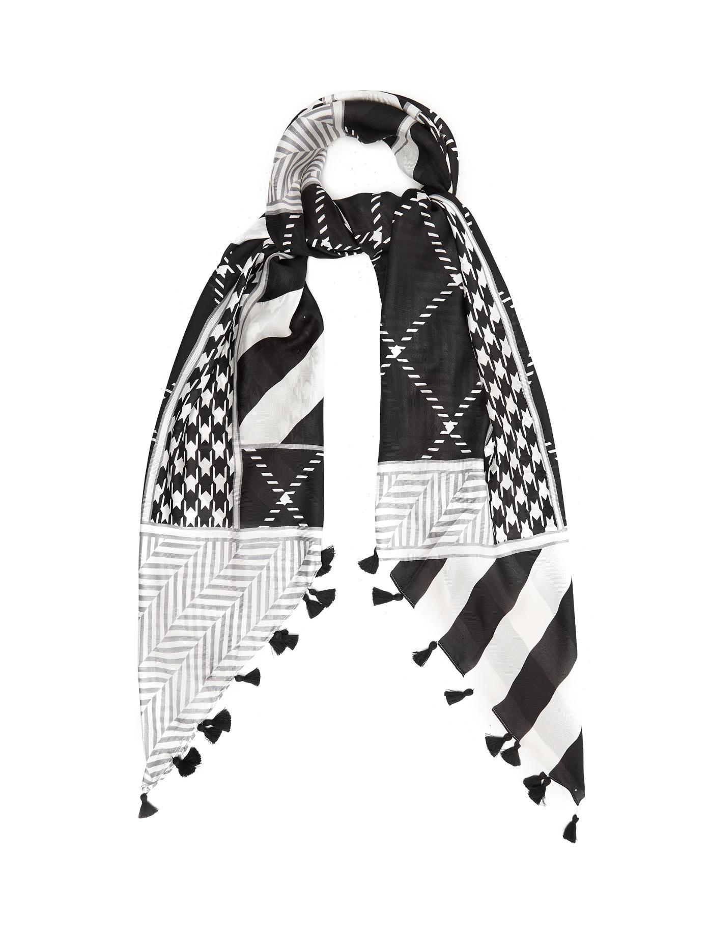 Geometric-print cotton-blend scarf Max Mara Jr0l9ws