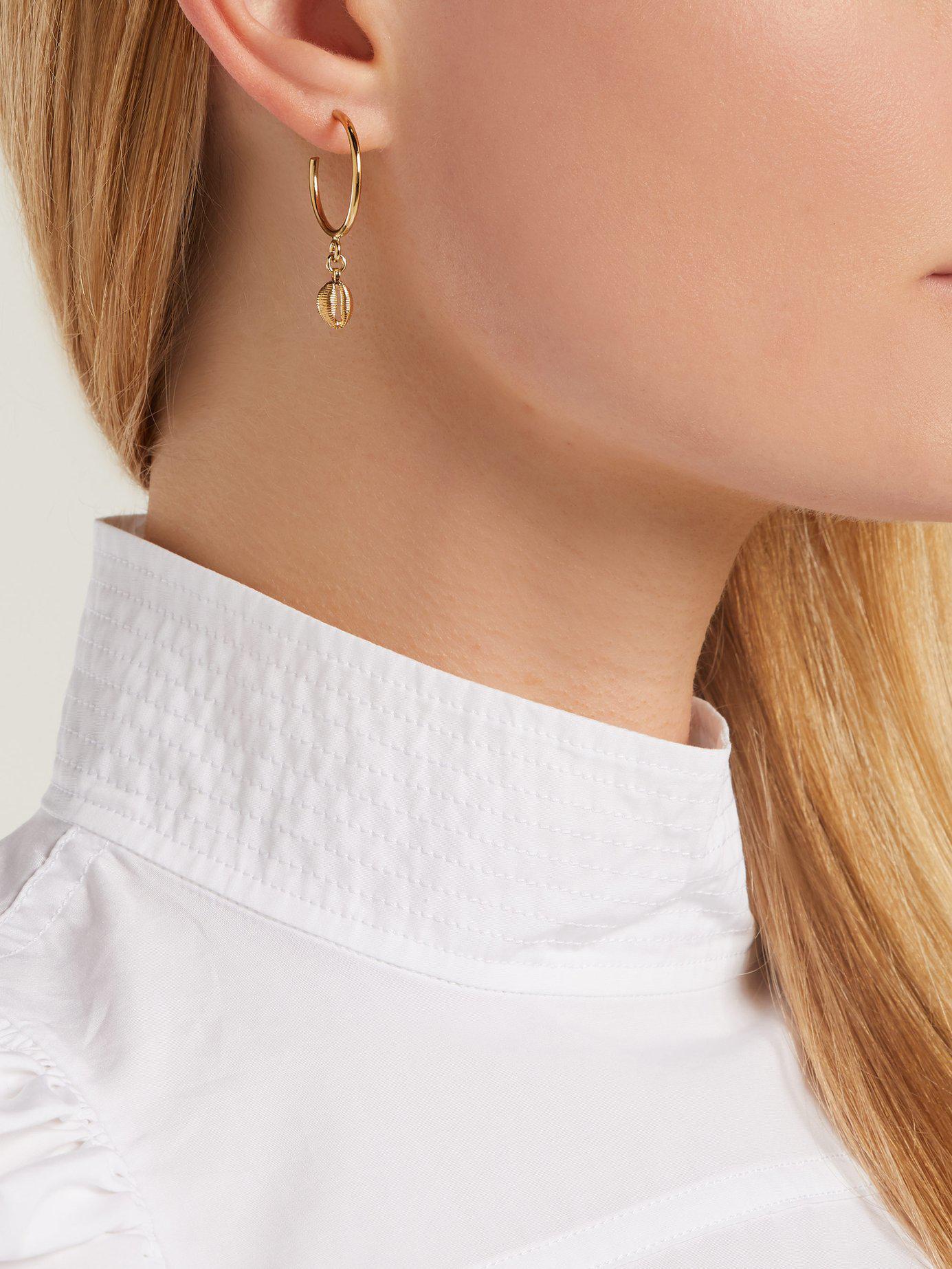 c20eacf213 Isabel Marant Shell Drop Hoop Earrings in Metallic - Lyst