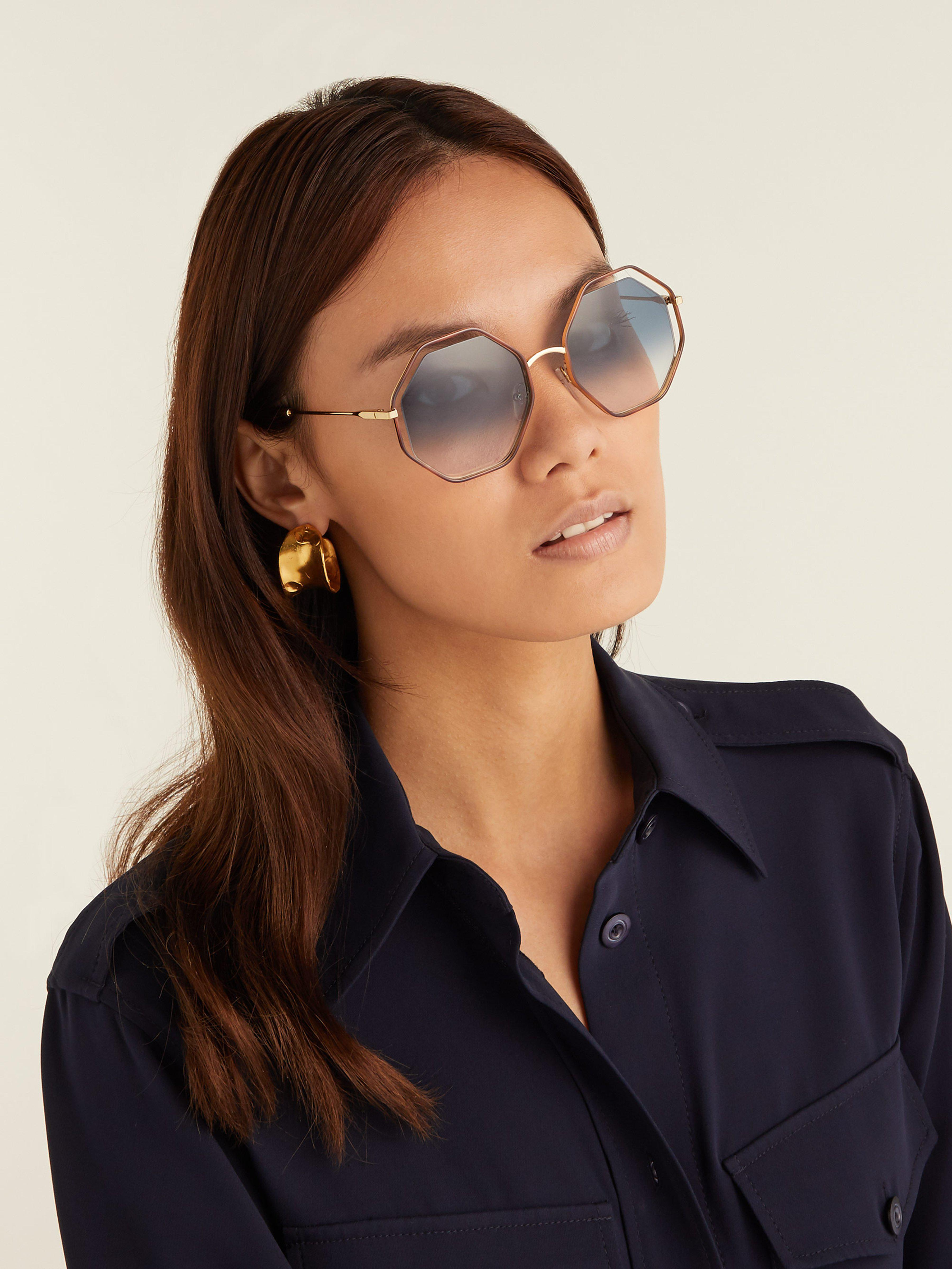 dd7a1728d0a Chloé Poppy Octagonal Framed Sunglasses in Blue - Lyst
