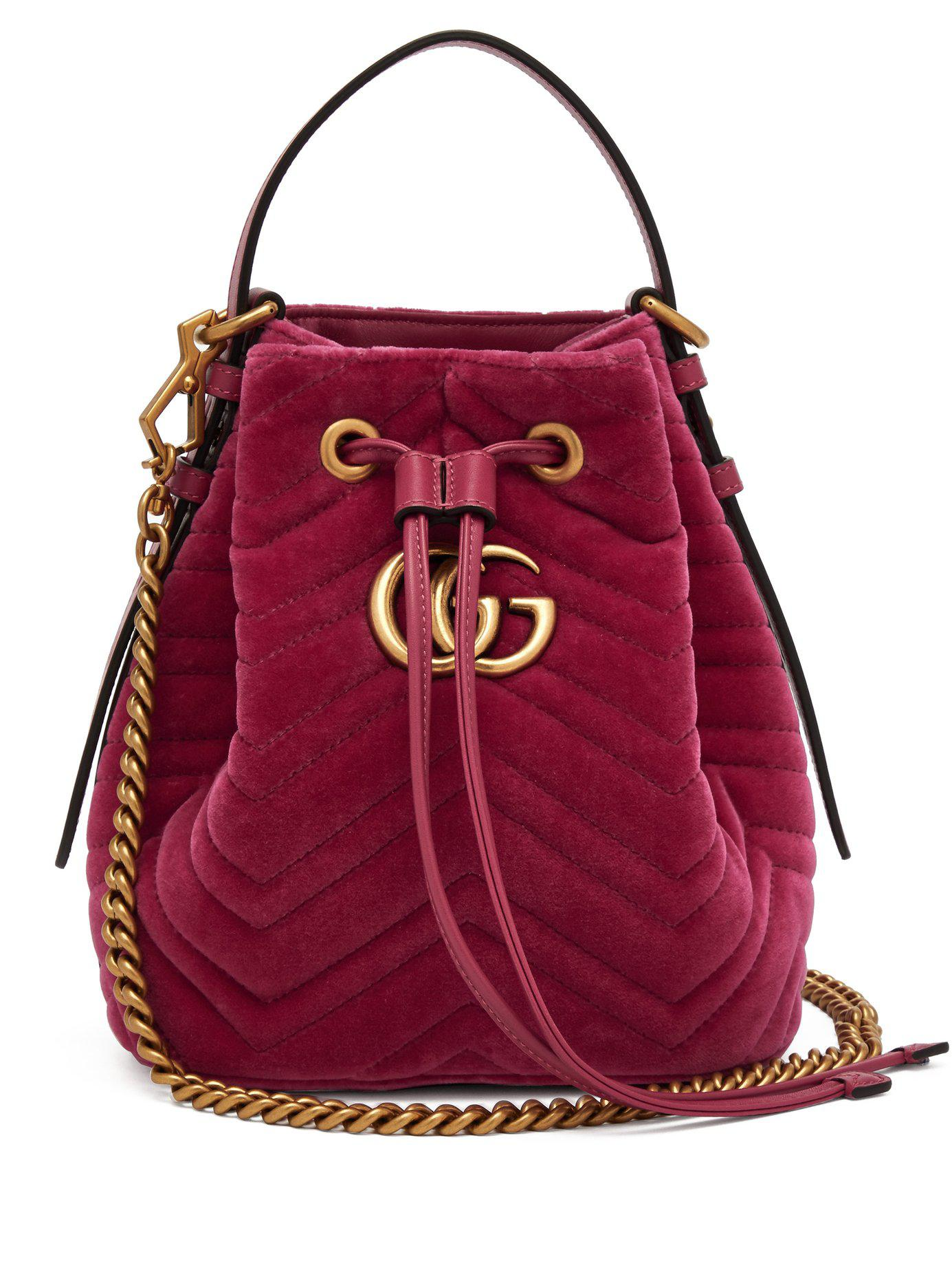 5c19475d1ba8 Lyst - Gucci Gg Marmont Quilted Velvet Drawstring Bucket Bag in Pink