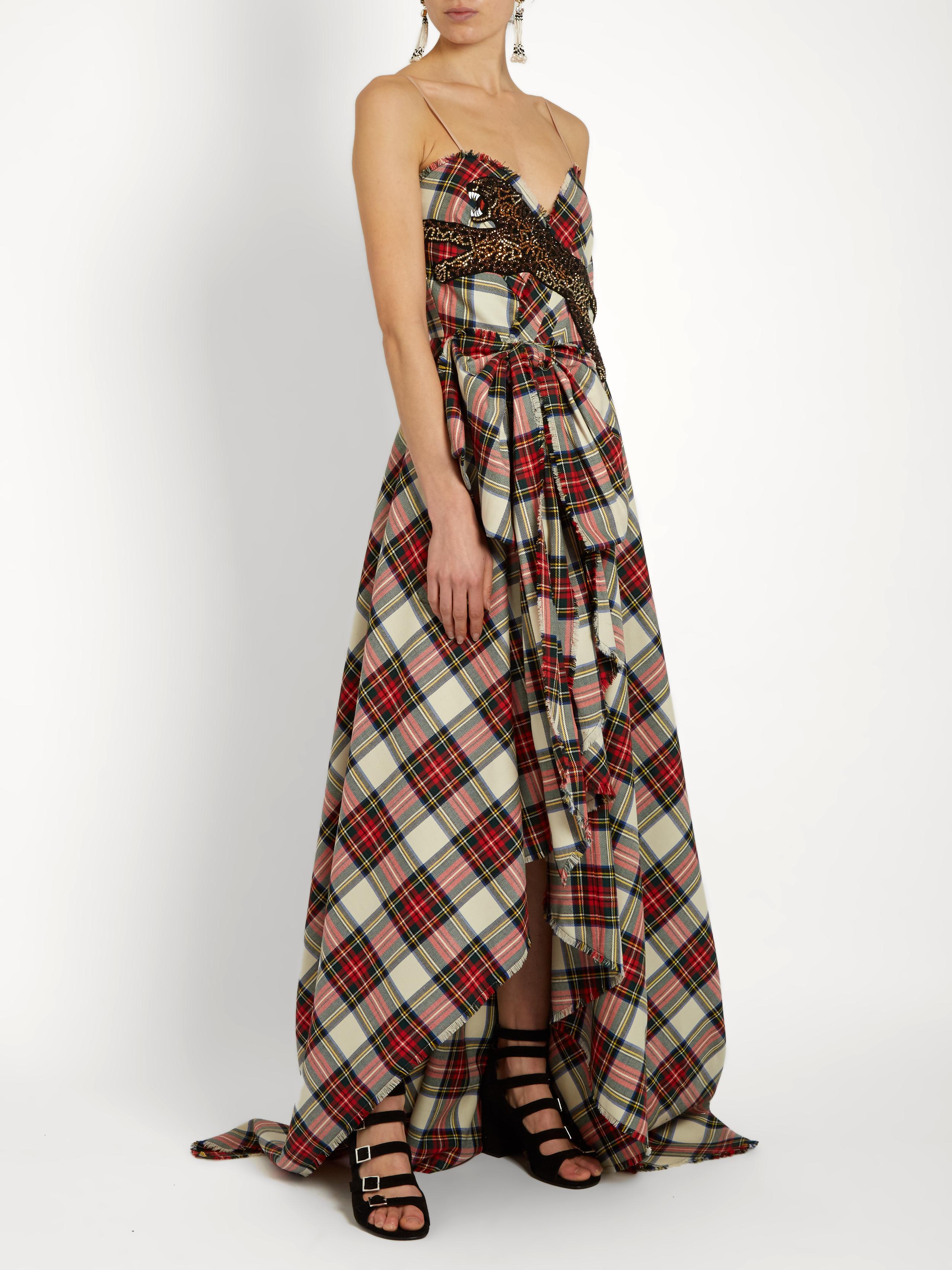 Lyst - Gucci Leopard-appliqué Wool Tartan Gown