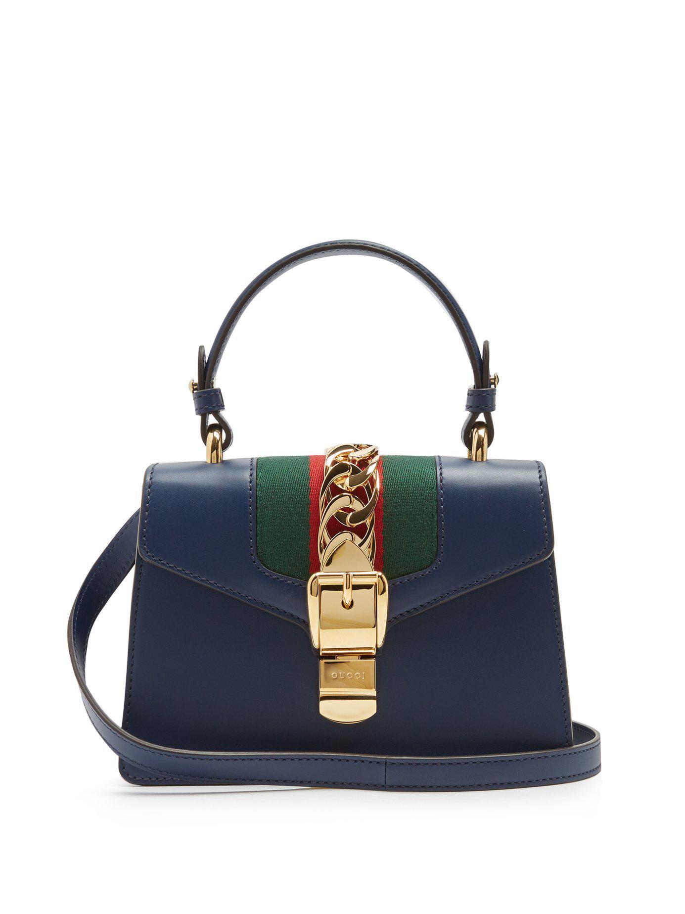 2d7a1e8df22 Lyst - Gucci Sylvie Mini Leather Shoulder Bag in Blue