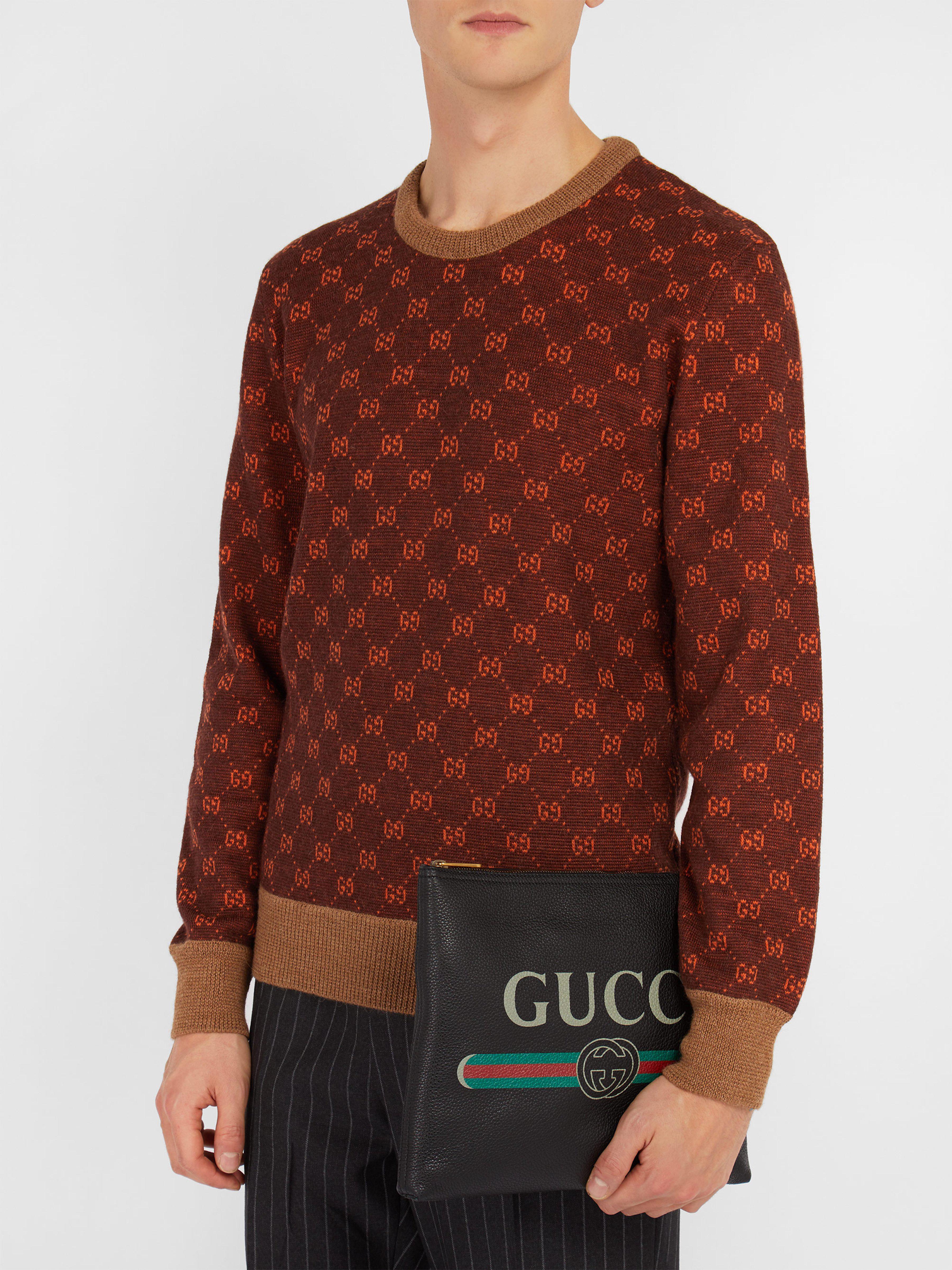 5bebab06e5f Gucci Logo Print Medium Leather Pouch in Black for Men - Lyst
