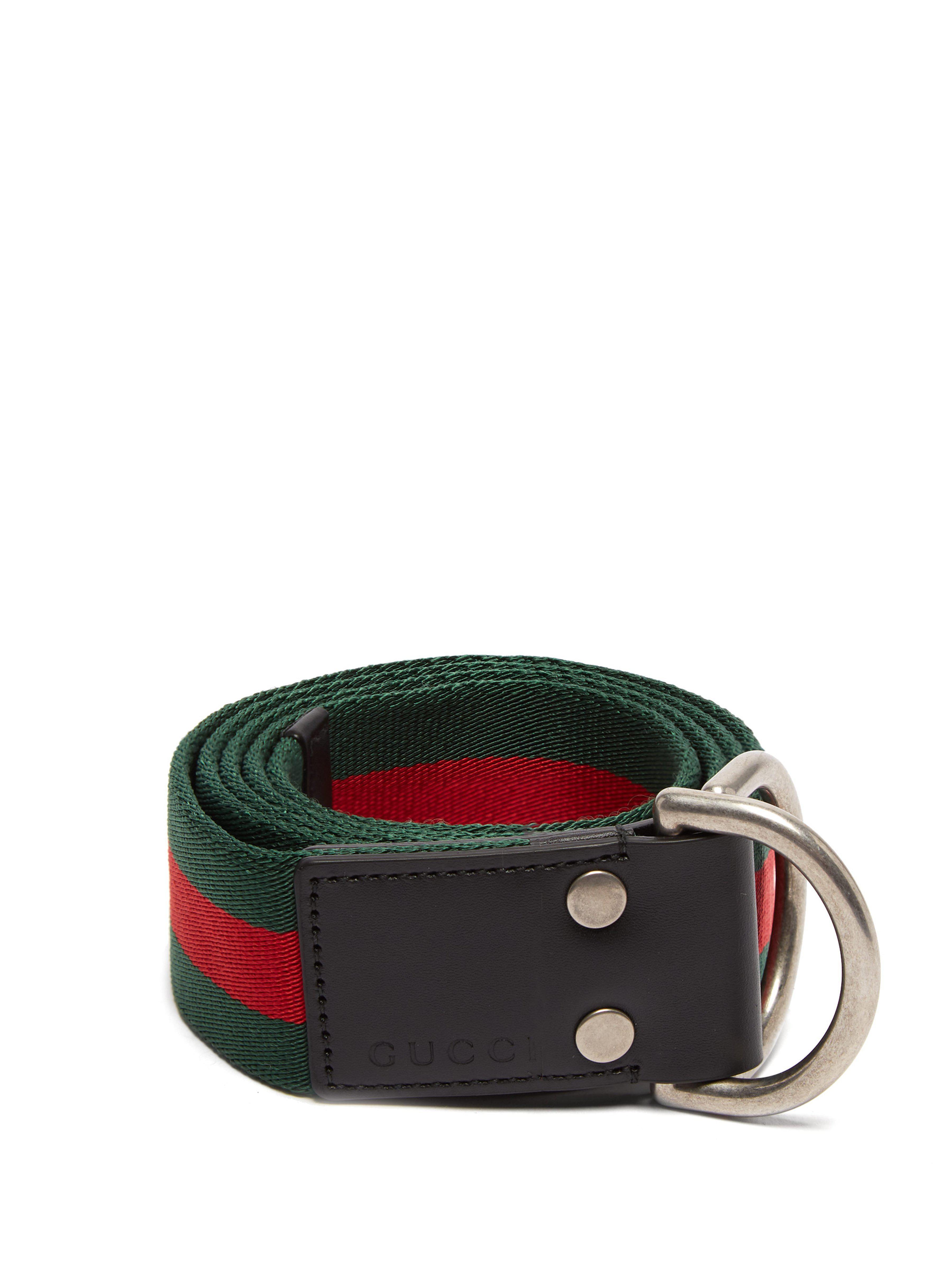 9f142492b94 Gucci - Green Web Striped Canvas Belt for Men - Lyst. View fullscreen