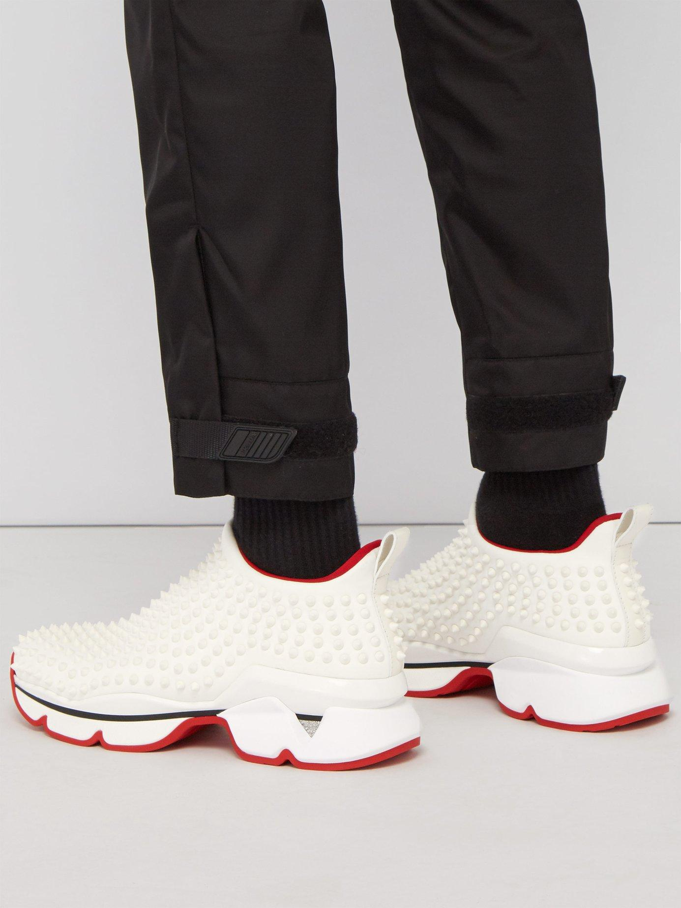 4eb8ff42db06 Lyst - Christian Louboutin Spike Embellished Neoprene Sock Trainers in  White for Men