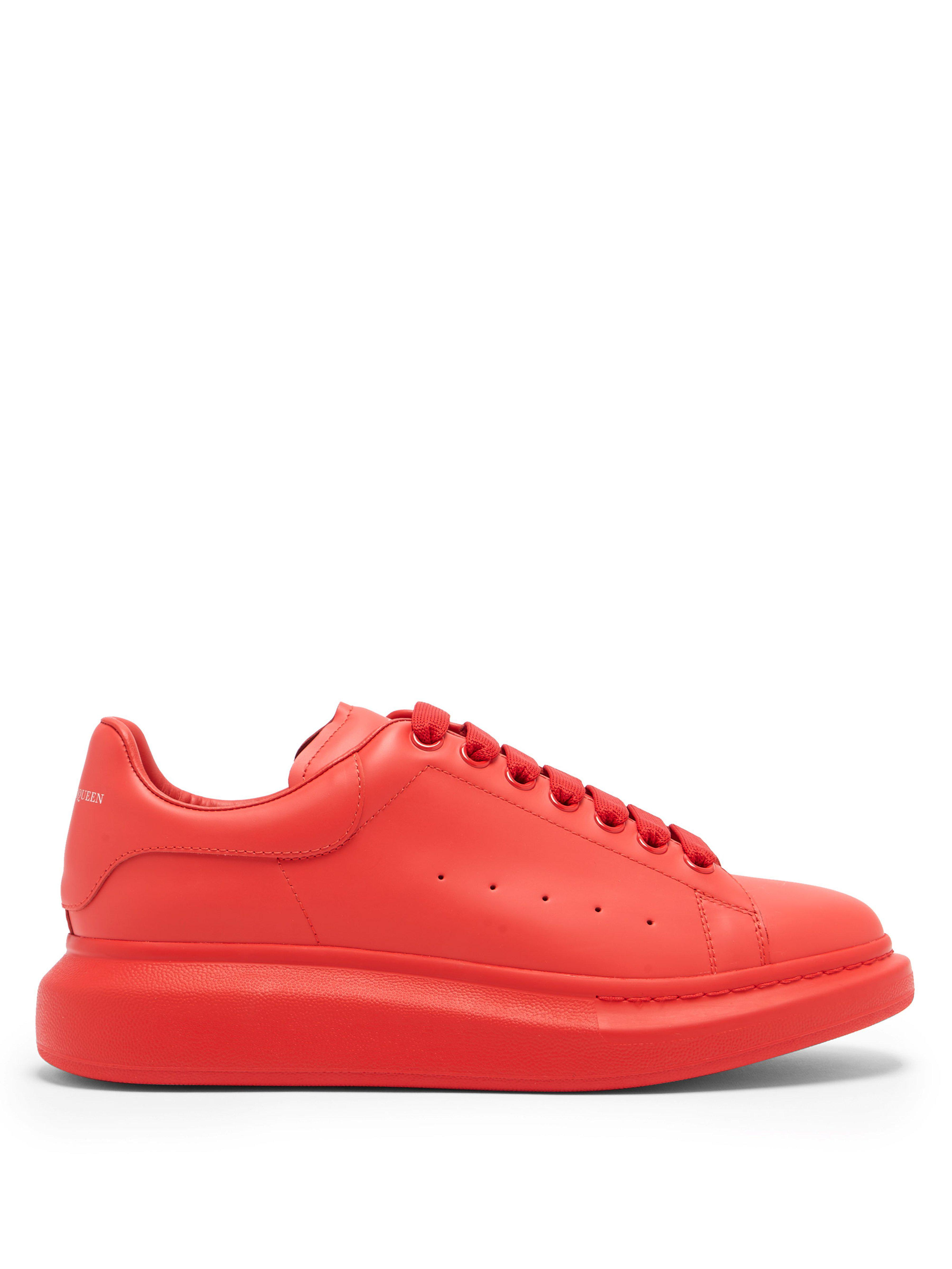 fcf8600126e12 Alexander McQueen Raised Sole Low Top Leather Trainers in Red for ...