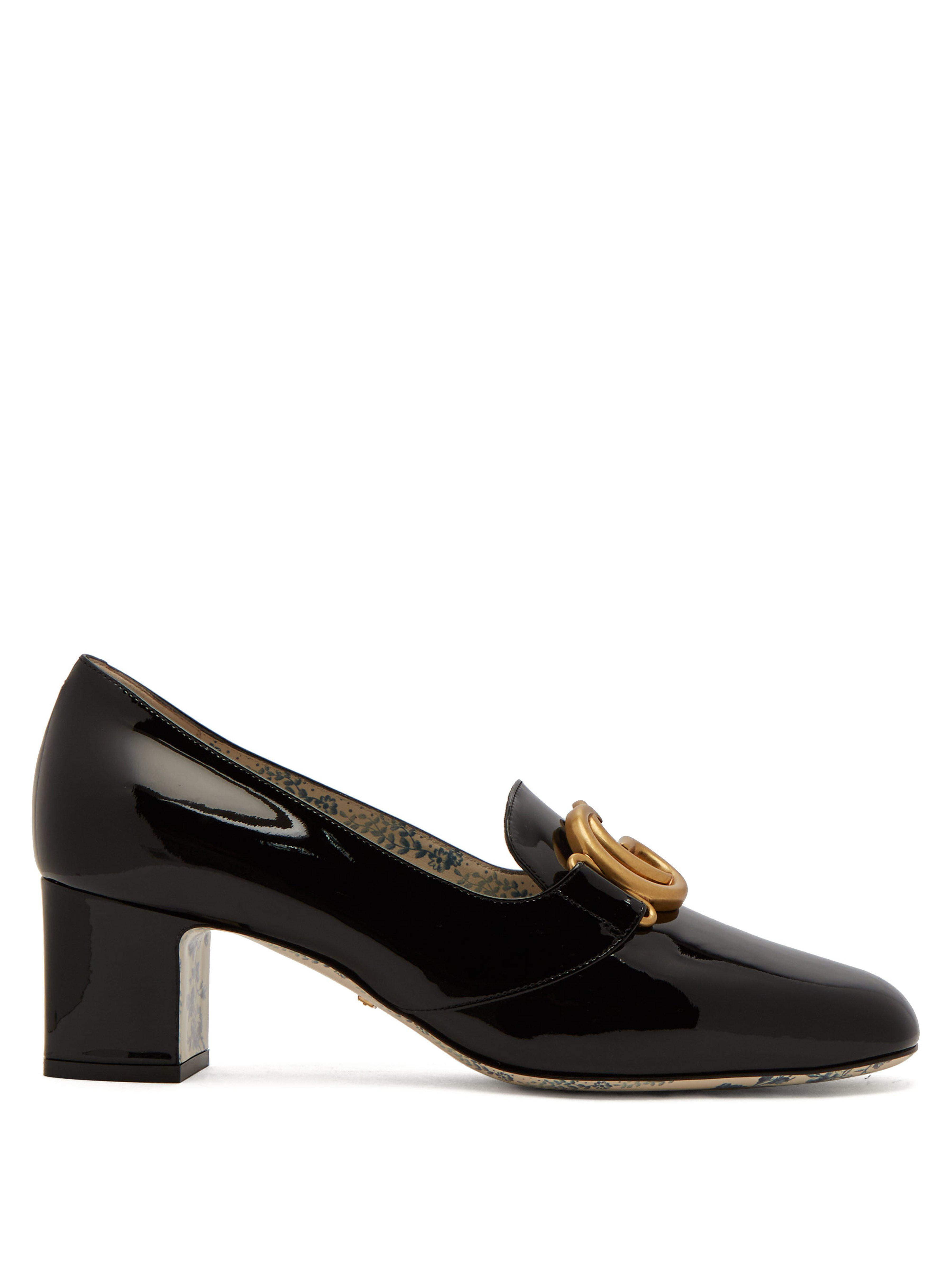 ebe6cd569068 Gucci Gg Marmont Patent Leather Block Heel Loafers in Black - Lyst