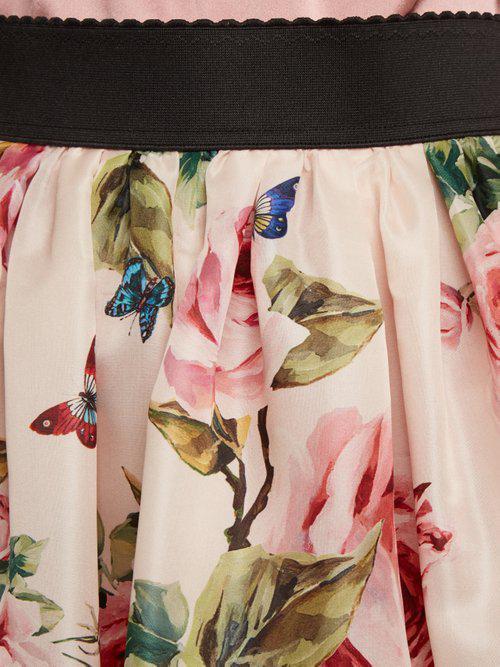 0e56d028e000 Dolce & Gabbana Rose And Butterfly-print Silk-organza Skirt in Pink ...