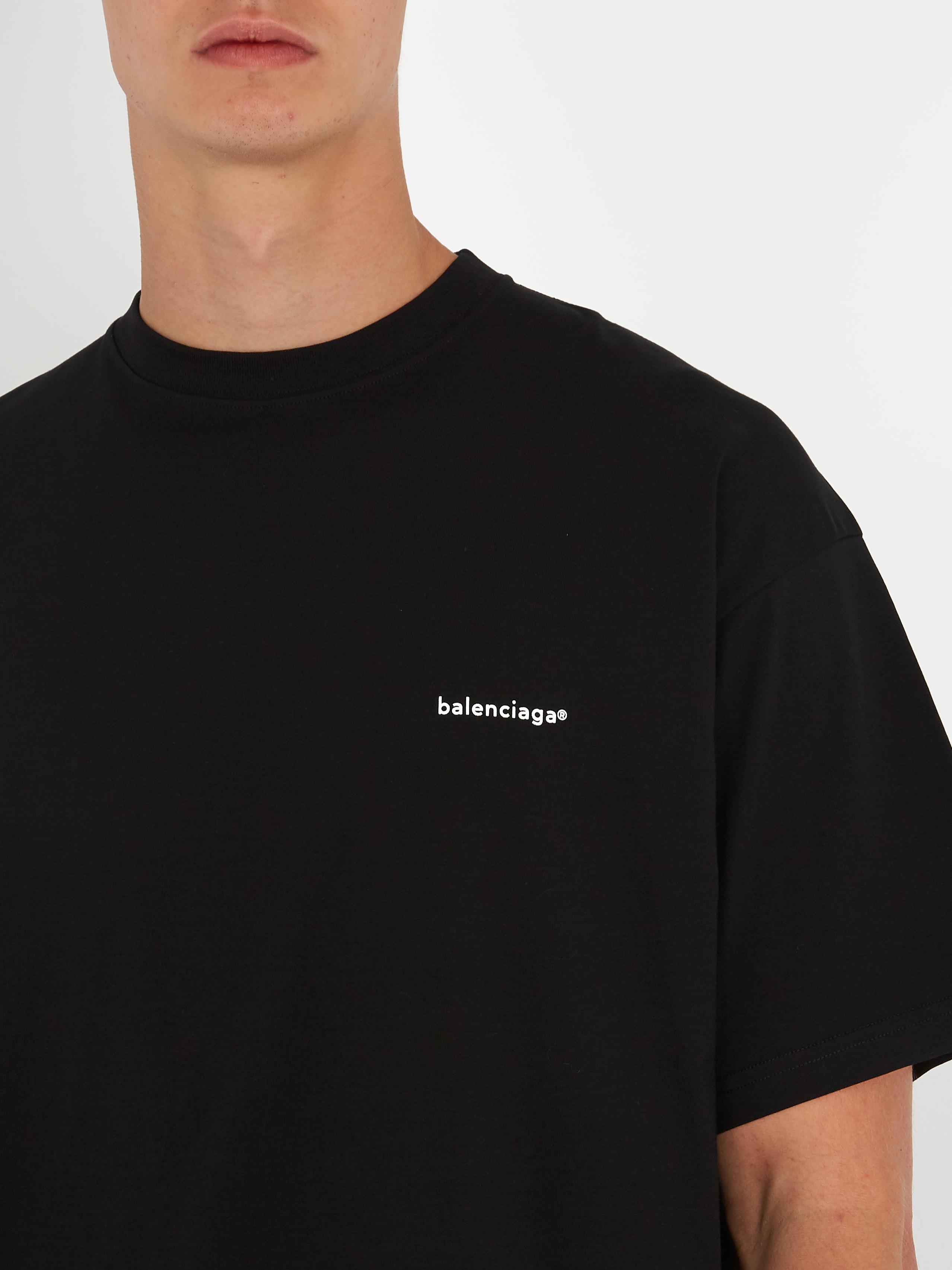 a572d5a4b2b8 Balenciaga Oversized Logo-print Cotton T-shirt in Black for Men - Lyst
