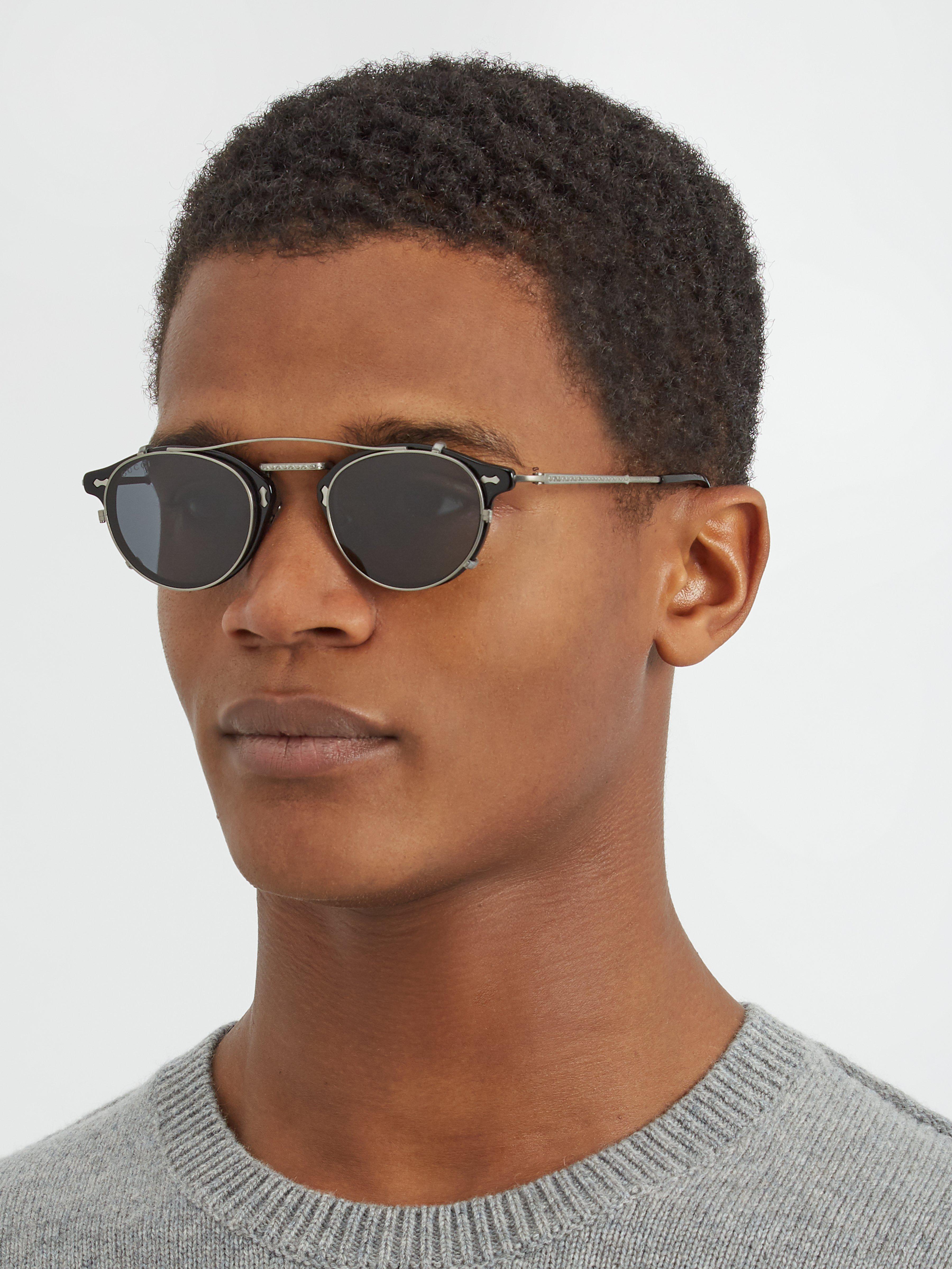 86c3f75d31d Lyst - Lunettes de soleil rondes à verres amovibles Gucci pour homme en  coloris Noir