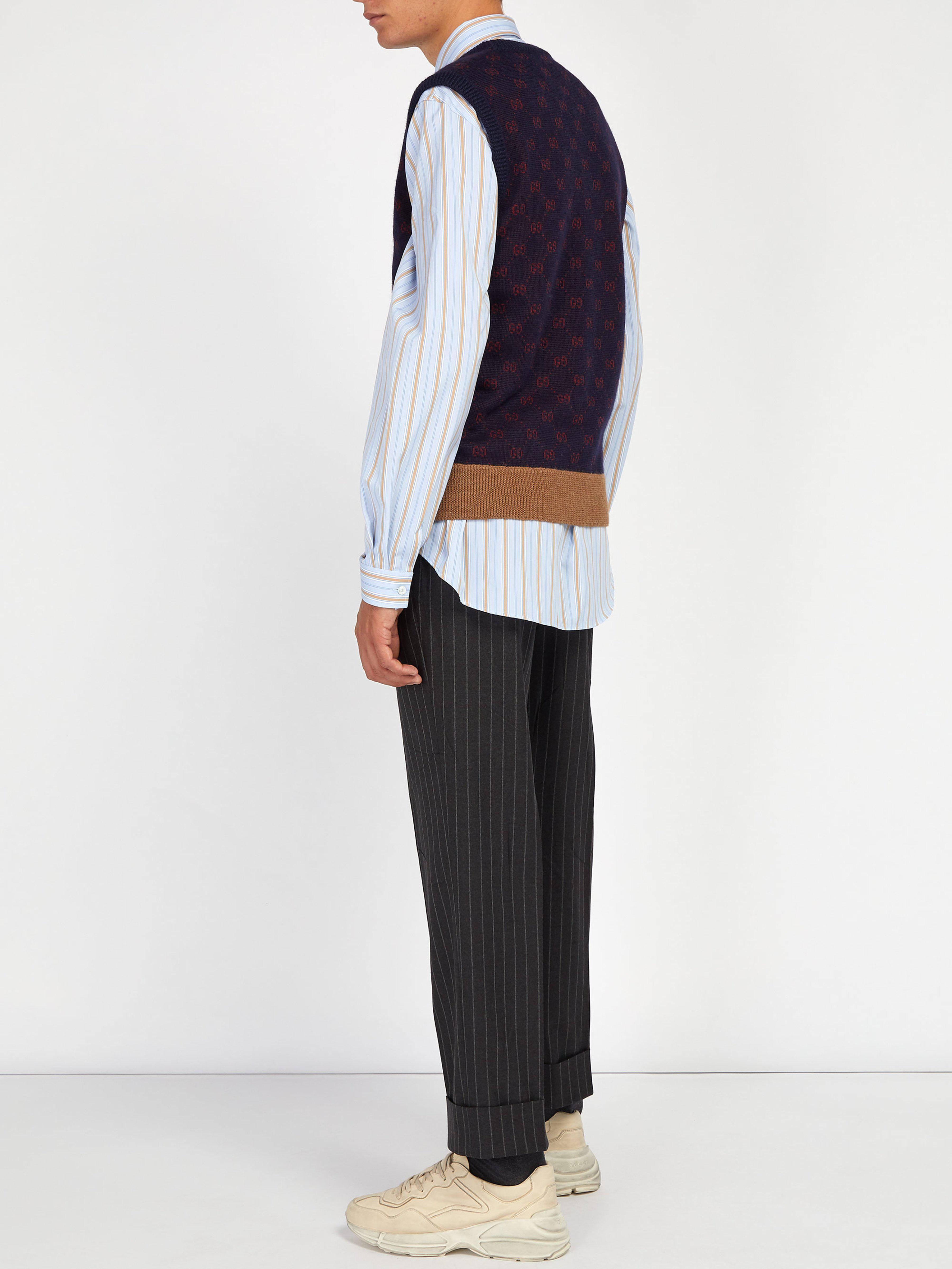 d9037a95630 Lyst - Chemise oversize en coton rayé Gucci pour homme en coloris Bleu