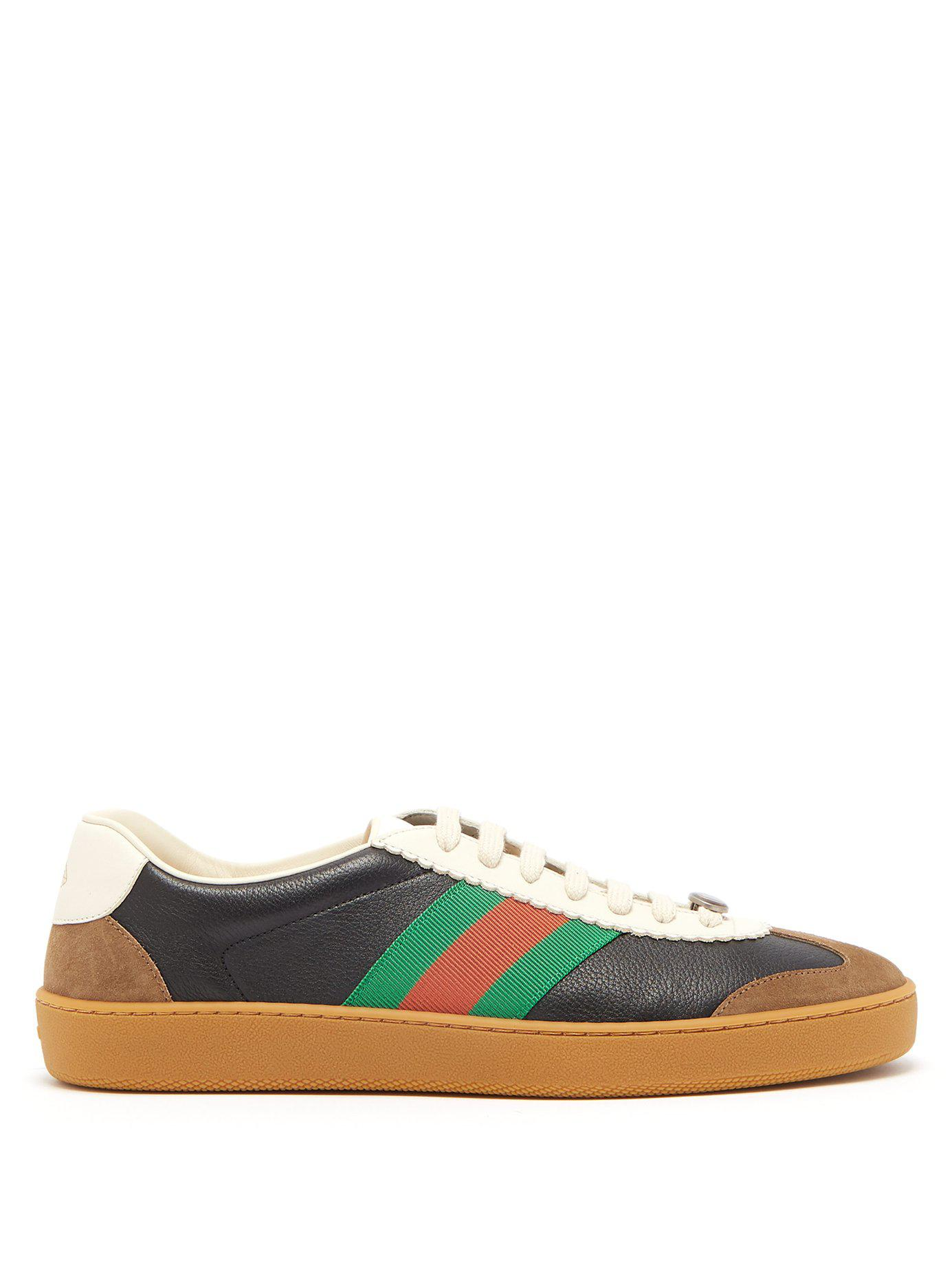 c8689a4e790d Lyst - Gucci G74 Leather Low Top Trainers in Black for Men