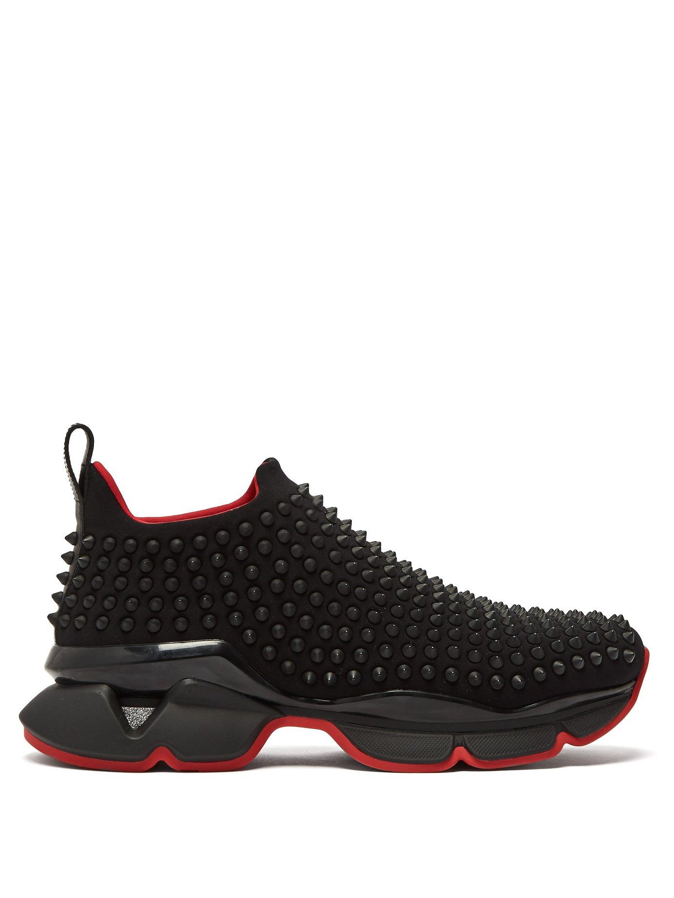 67c9c87a8840 Lyst - Christian Louboutin Spike Sock Studded Low Top Trainers in Black