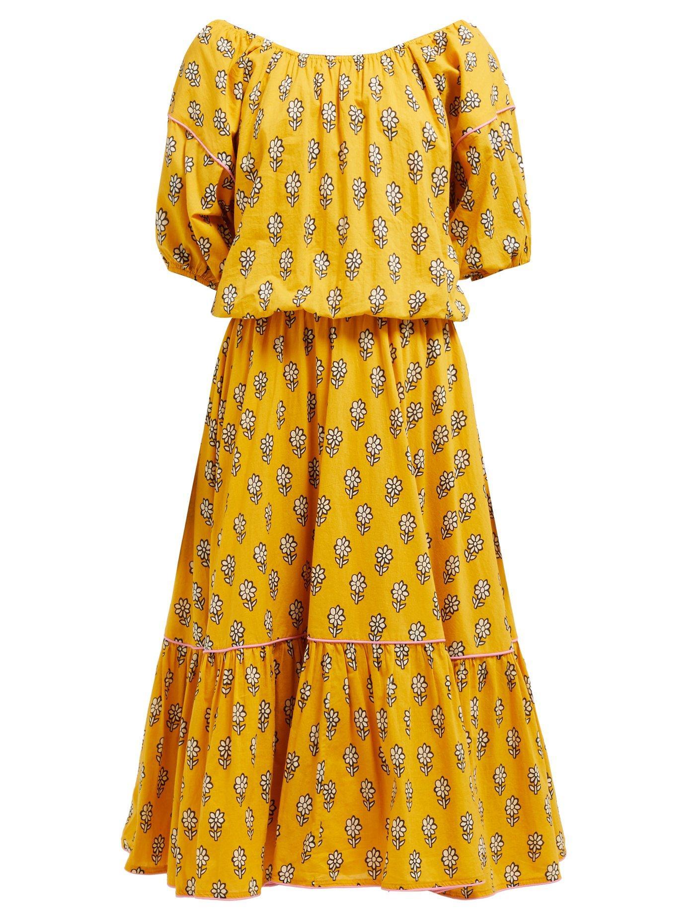 618e69088241 Lyst - Rhode Resort Frida Floral Print Cotton Voile Midi Dress in Yellow