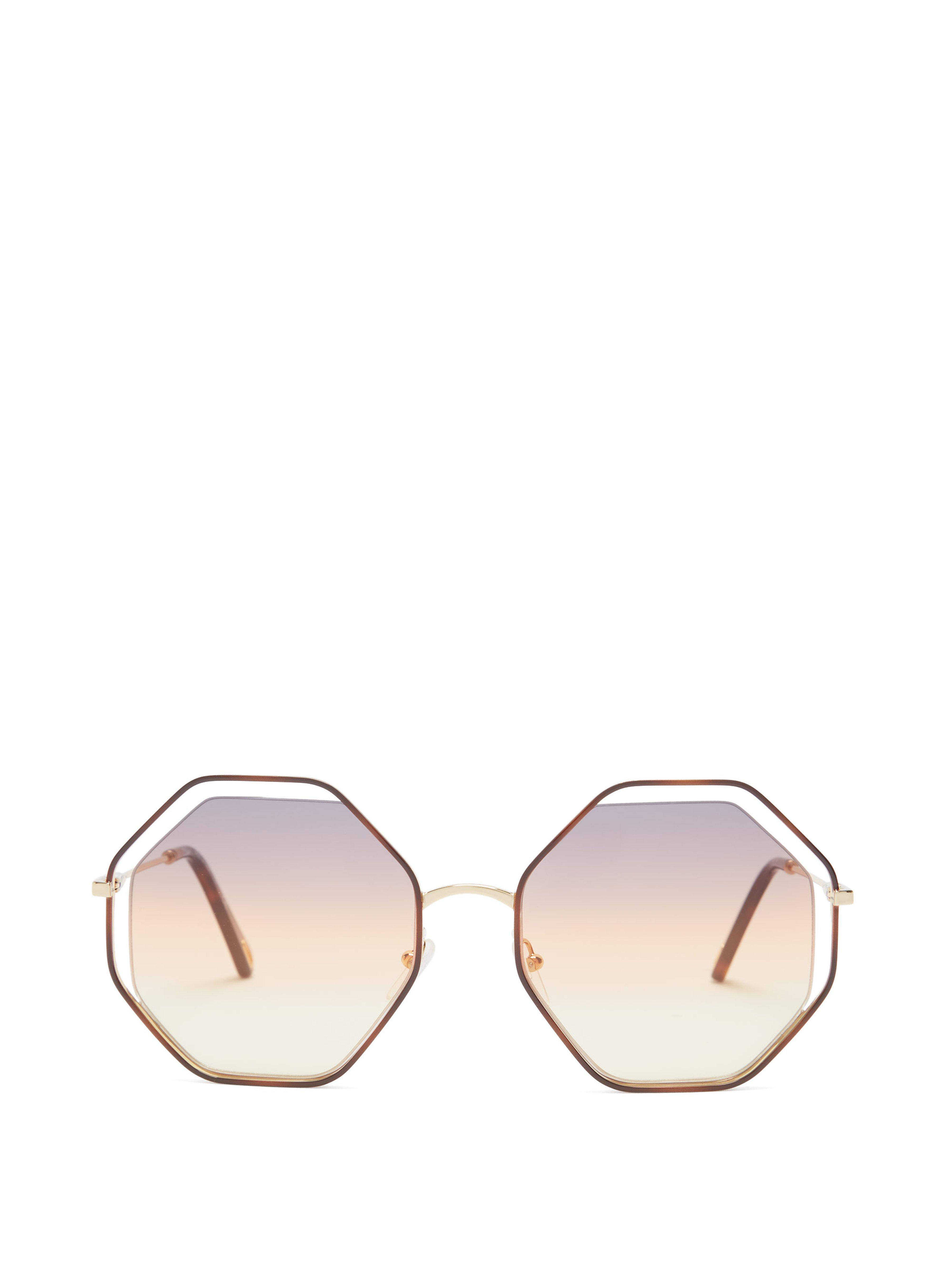 18d2abad7e4 Chloé Poppy Octagon Frame Sunglasses in Brown - Save 11% - Lyst