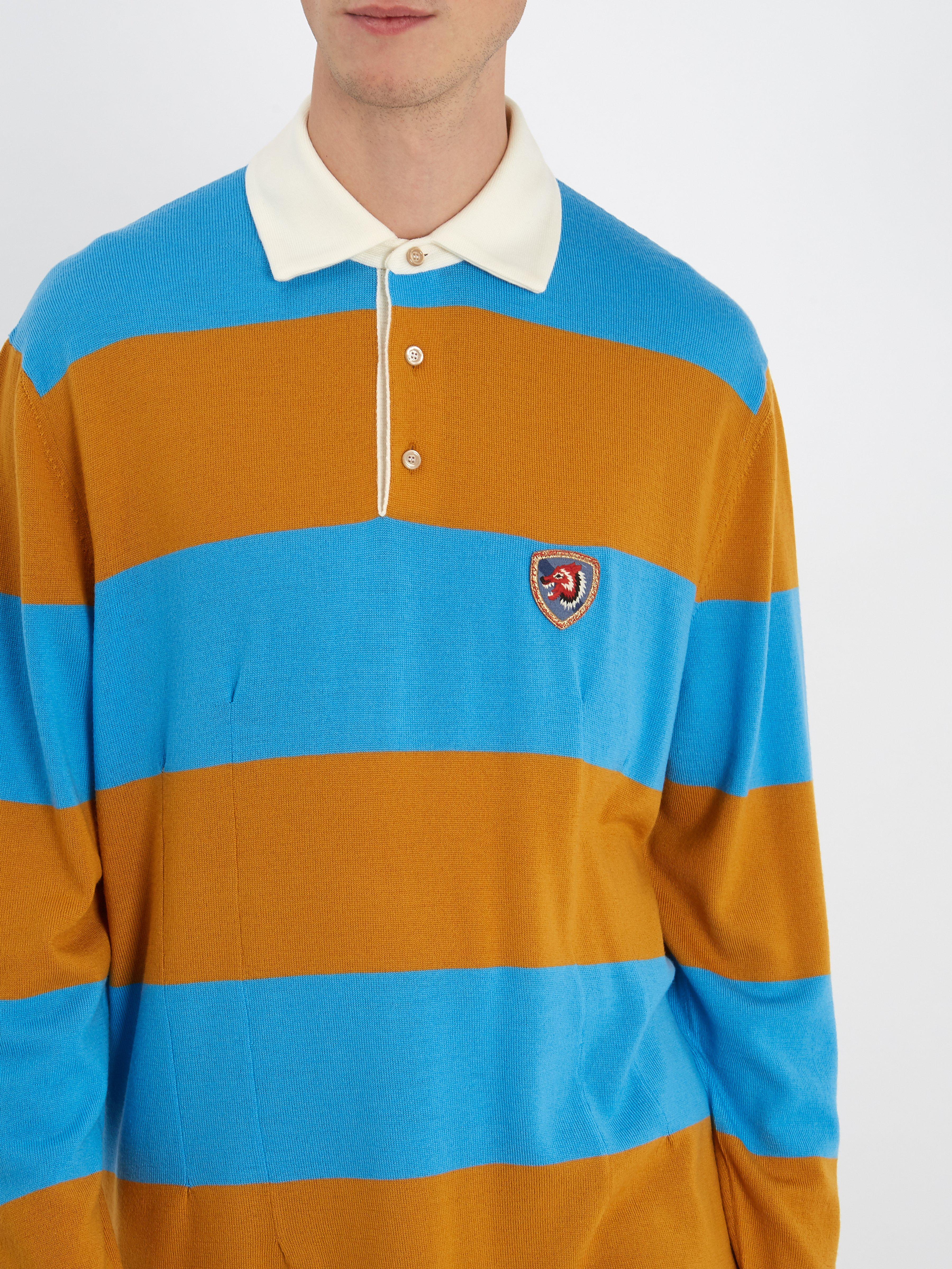 907ebbcb824 Gucci Wolf-patch Striped Wool Polo Shirt in Blue for Men - Lyst
