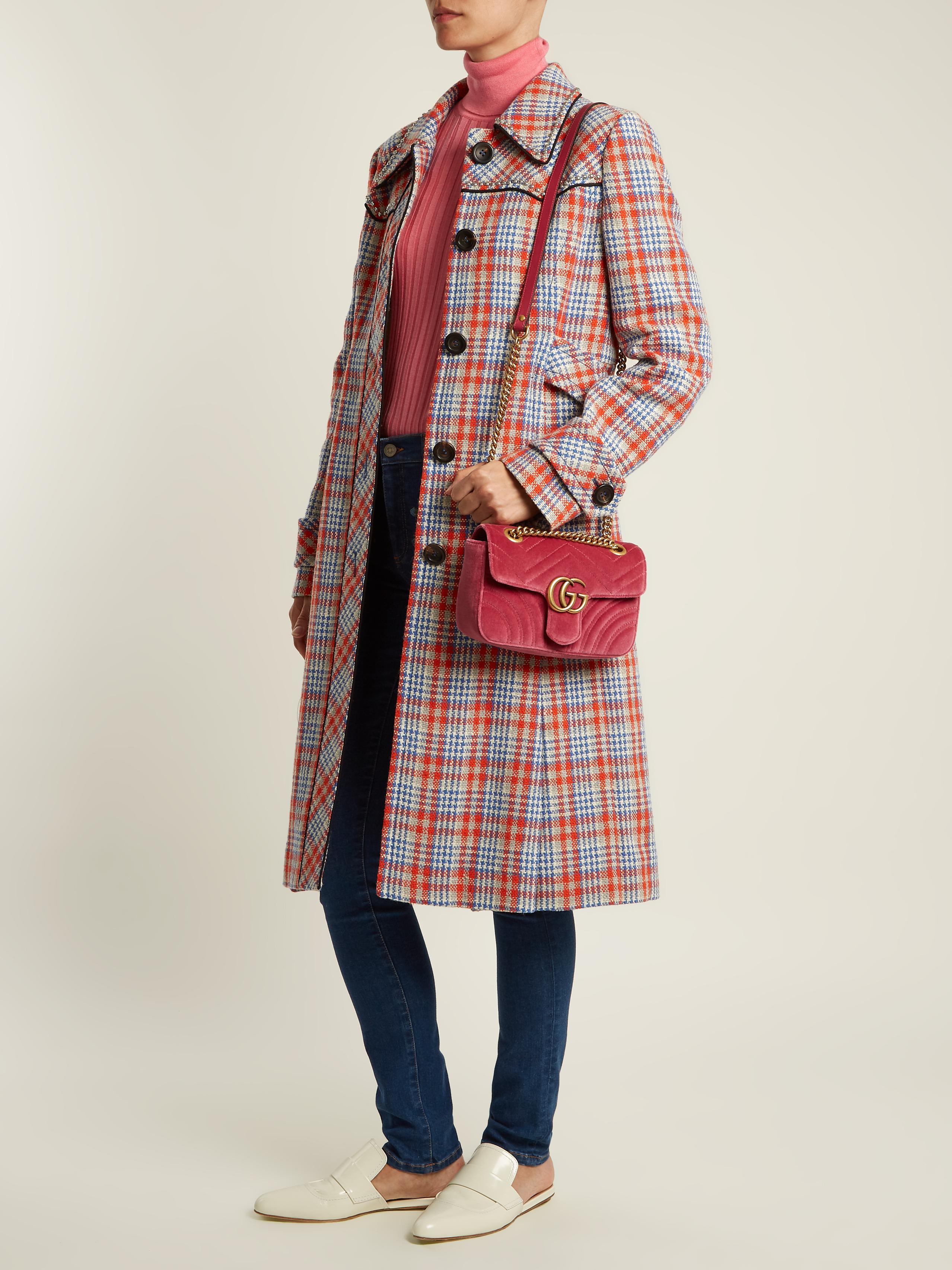 Gg Marmont Mini Quilted Velvet Shoulder Bag - Pink Gucci N98rm