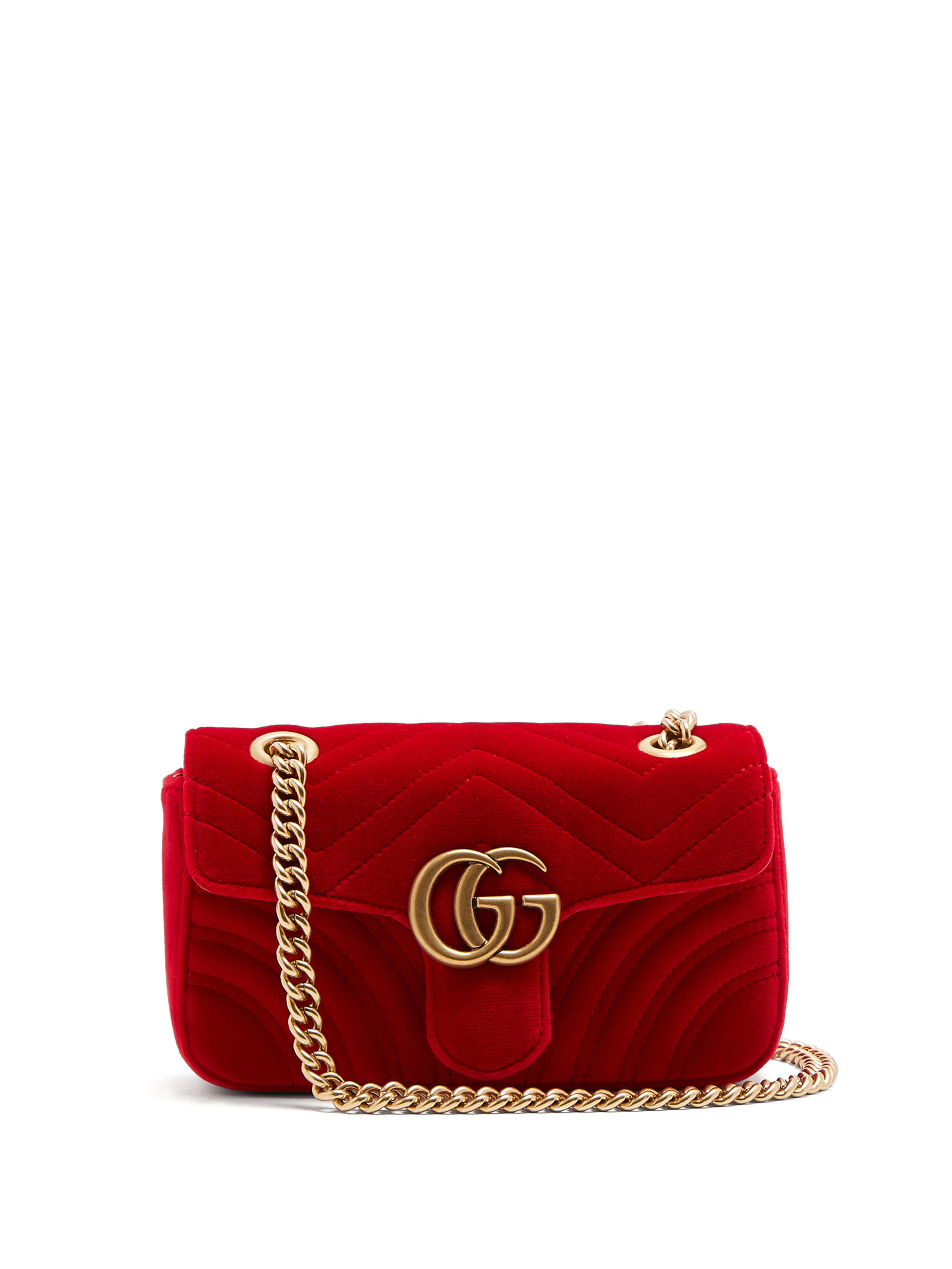 70a63e25cd258 Gucci Gg Marmont Mini Quilted Velvet Cross Body Bag in Red - Lyst