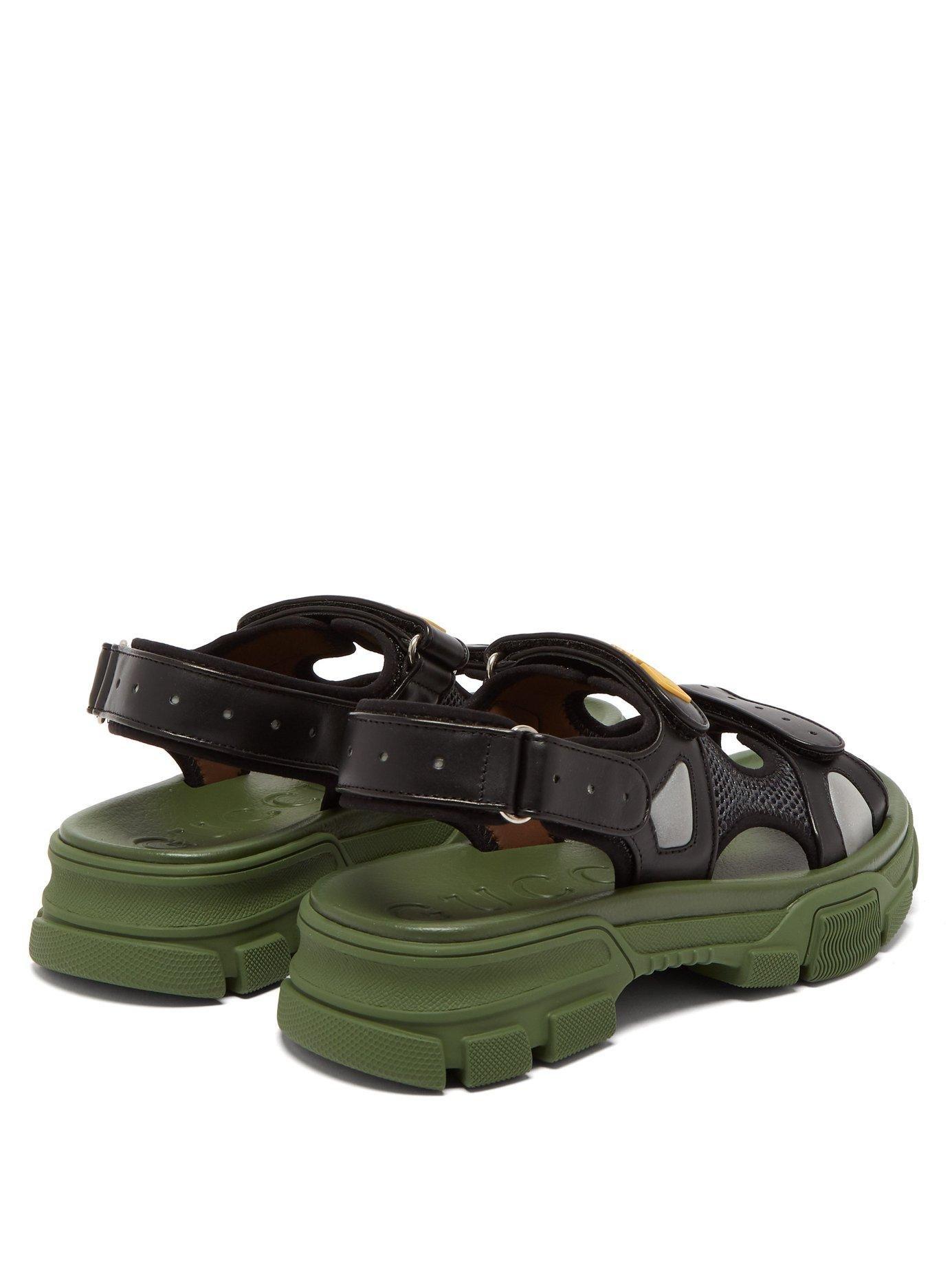 555604c80 Gucci Logo Appliqué Leather And Mesh Sandals - Lyst