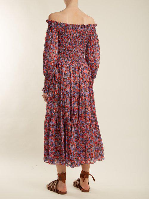 8ae2d96e682a Lyst - Rebecca Taylor Cosmic Off-shoulder Floral-print Dress in Red