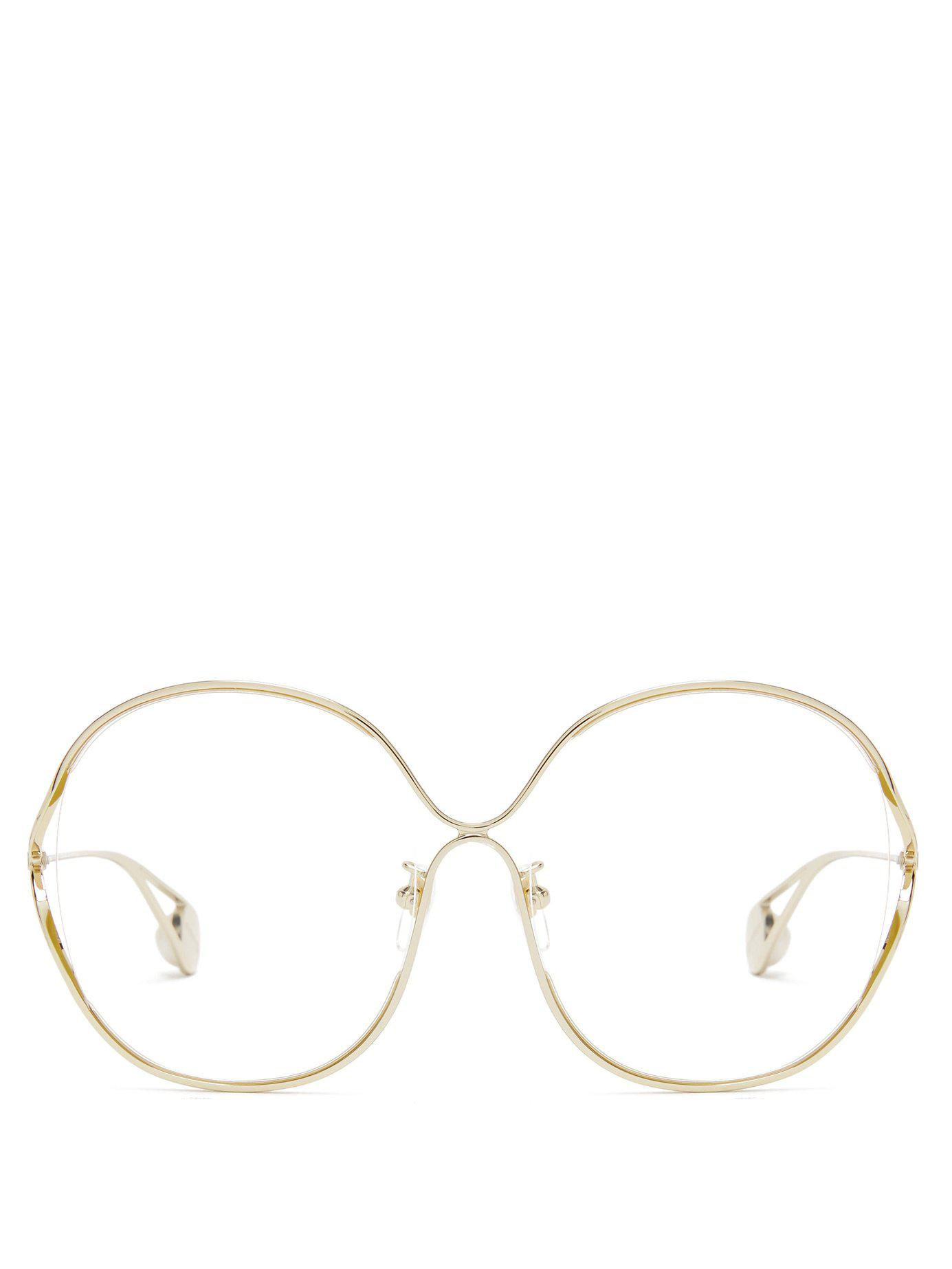 85102a463a Lyst - Gucci Round Frame Metal And Faux Pearl Glasses