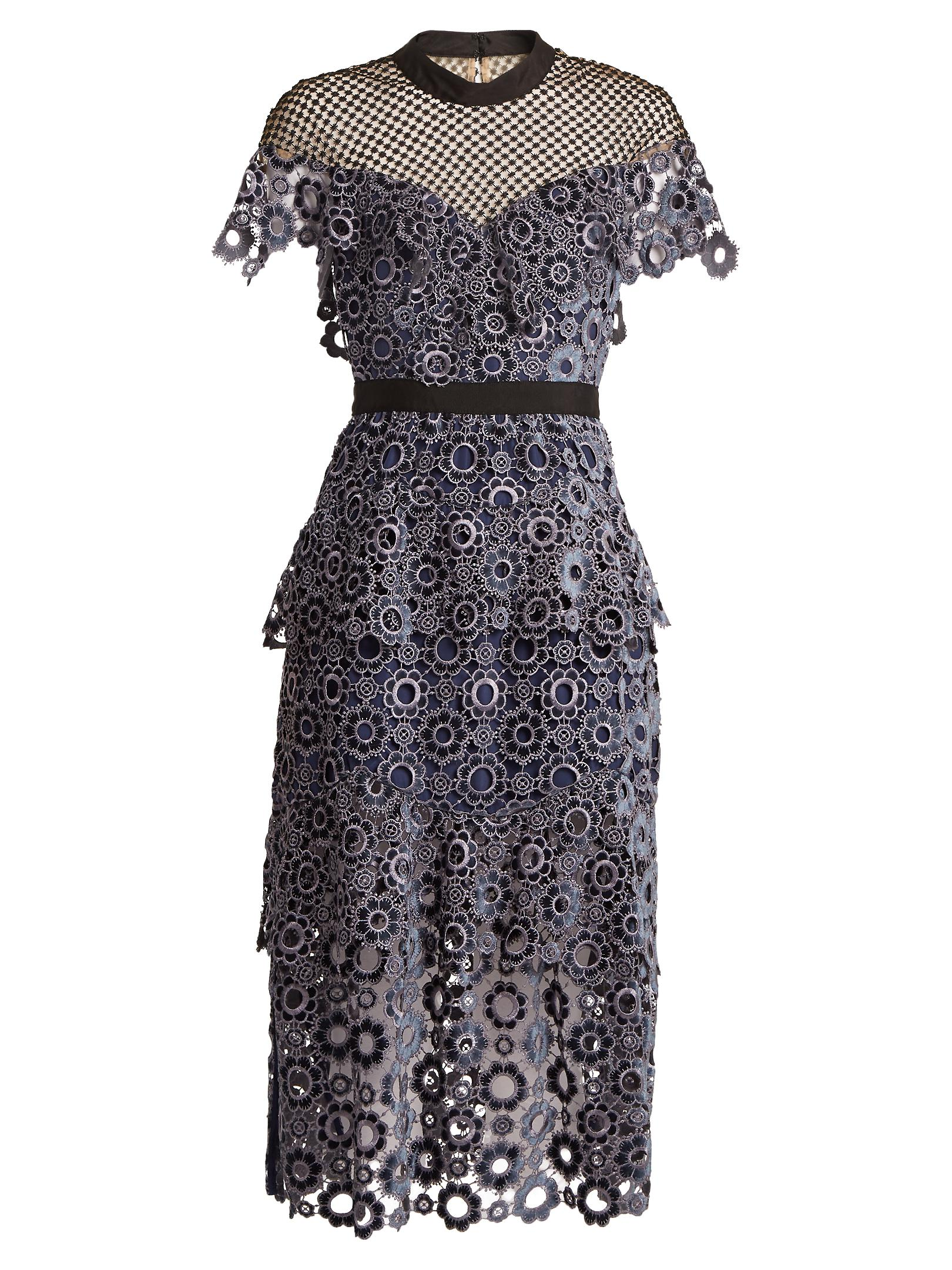 440e81dde499 Self-Portrait Cut-out Ditzy-lace And Floral-embroidered Dress in ...
