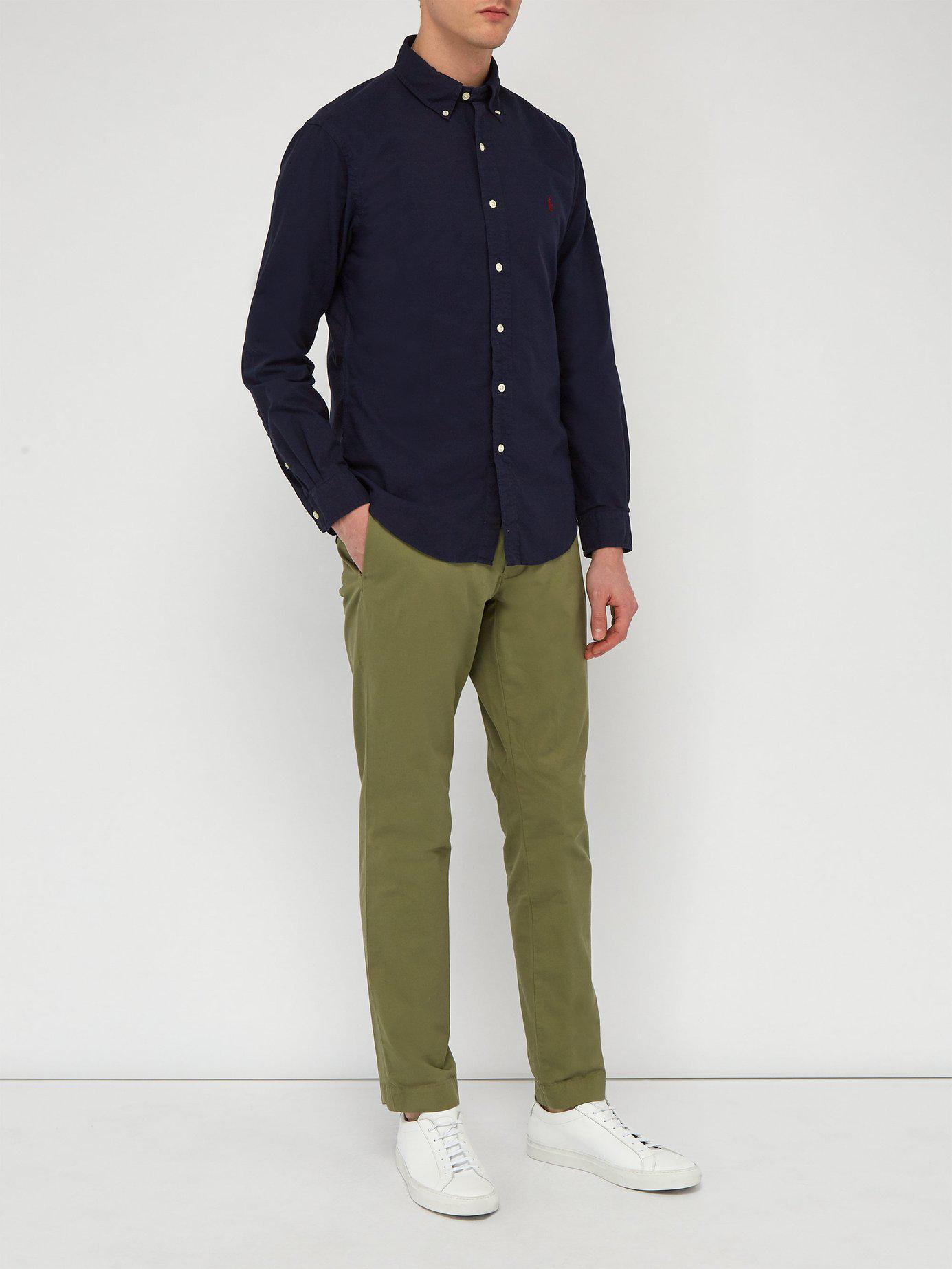 28038cde983a ... top quality polo ralph lauren blue slim fit cotton oxford shirt for men  lyst. view