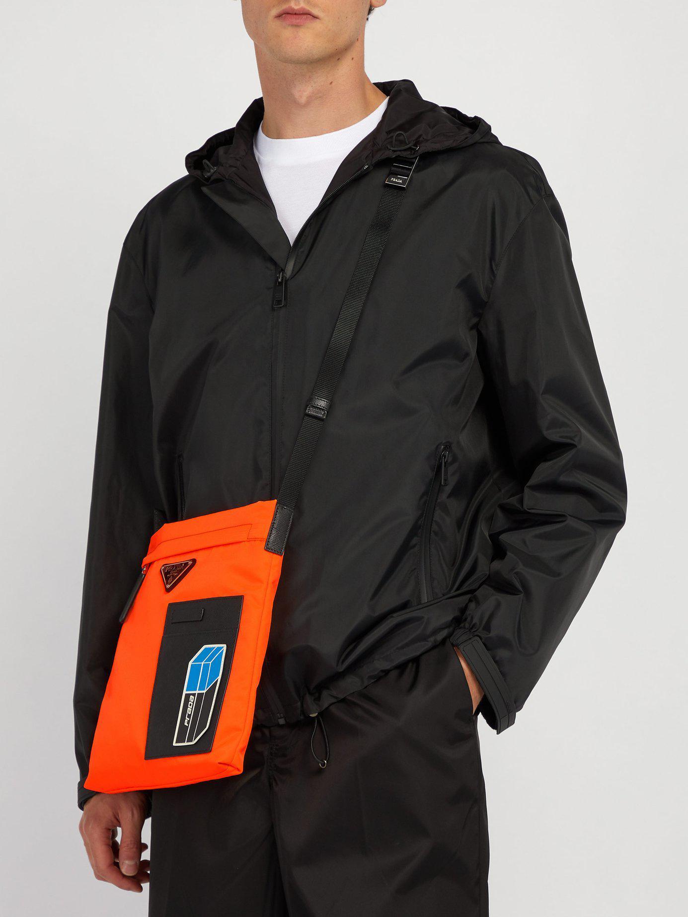 5a9d137a5426 Prada Logo-plaque Nylon Cross-body Bag in Orange for Men - Lyst