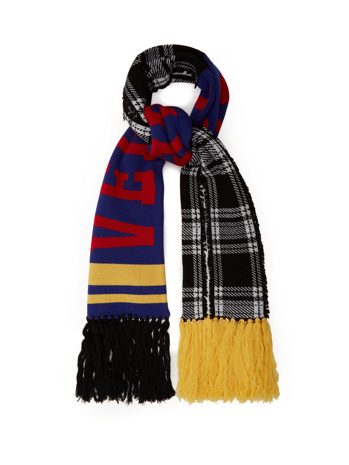 08856dfda14 Lyst - Versace Checked Logo Intarsia Wool Scarf in Blue