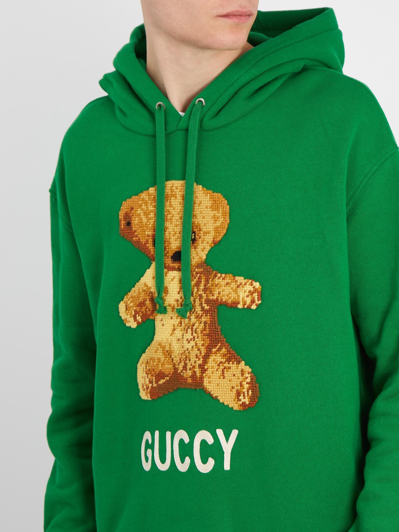 af0431b6b Gucci Teddy-appliqué Cotton-jersey Hooded Sweatshirt in Green for ...