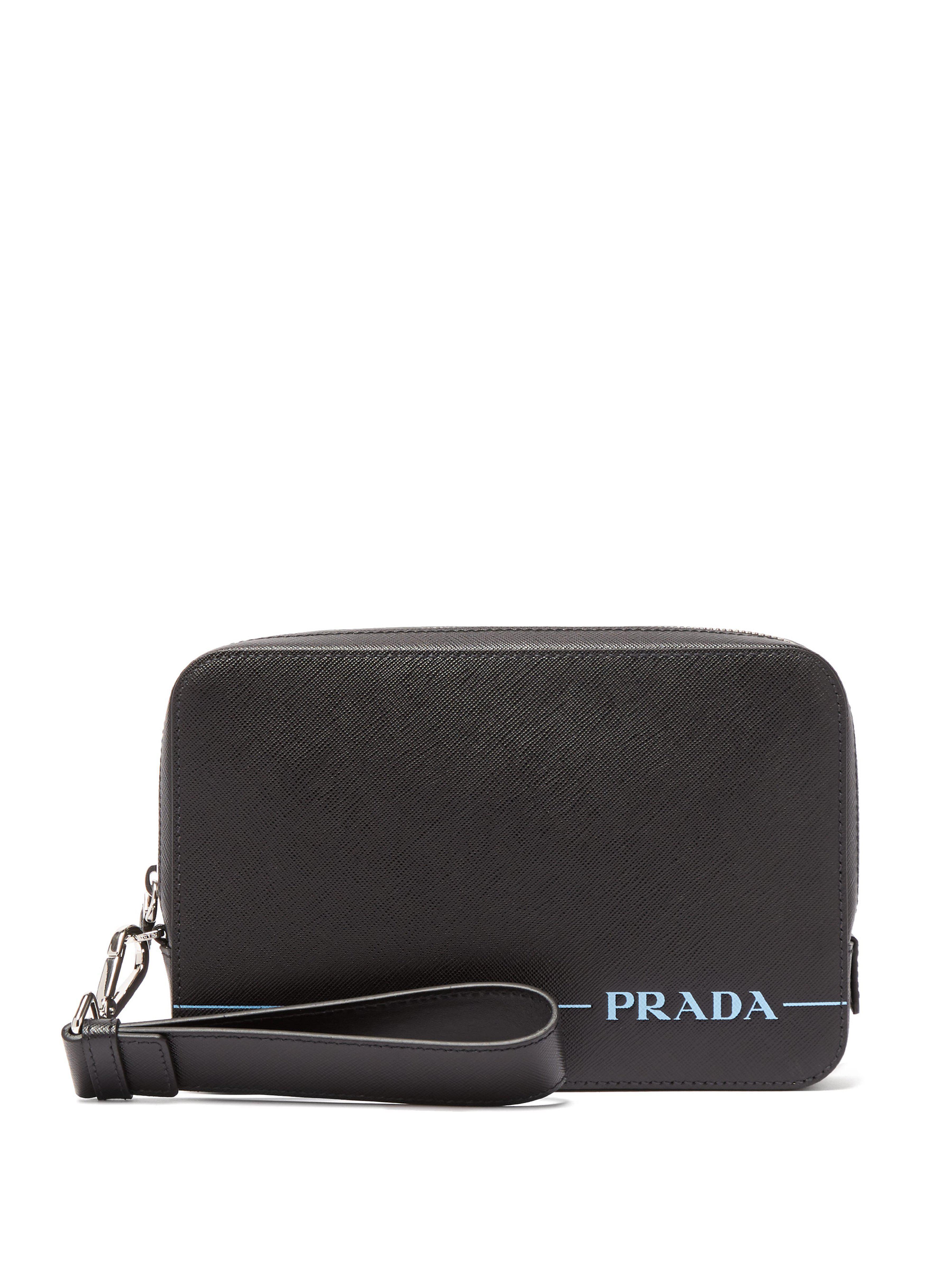 83201084ef3fdb Prada Logo Print Leather Pouch in Black for Men - Lyst