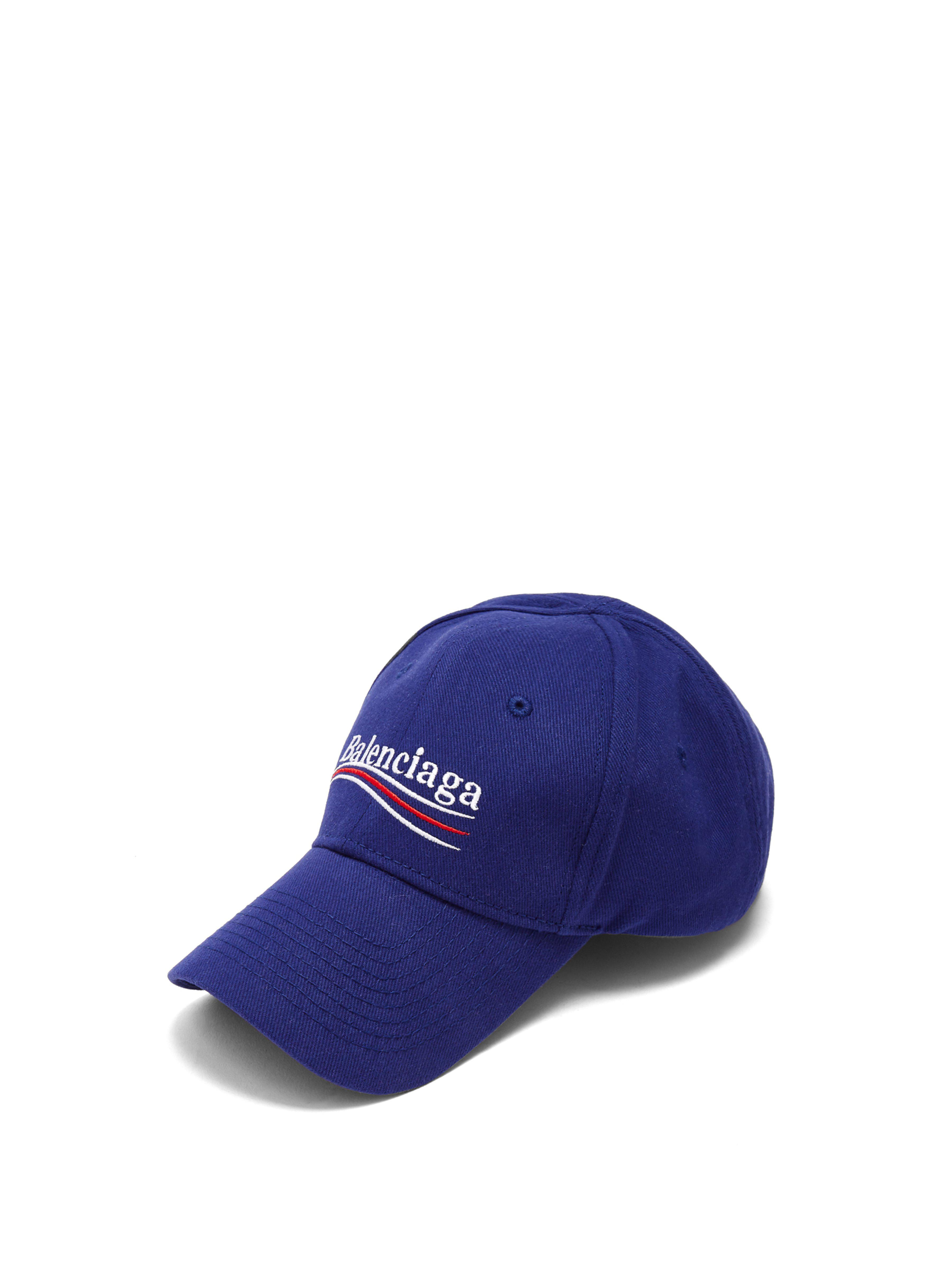 2e7ff5c8052 Balenciaga - Blue Embroidered Cotton Baseball Cap - Lyst. View fullscreen