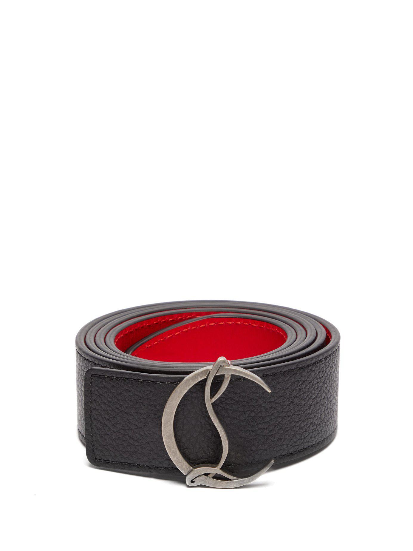 4638bc6ca7e8 Lyst - Christian Louboutin Logo Leather Belt in Black for Men