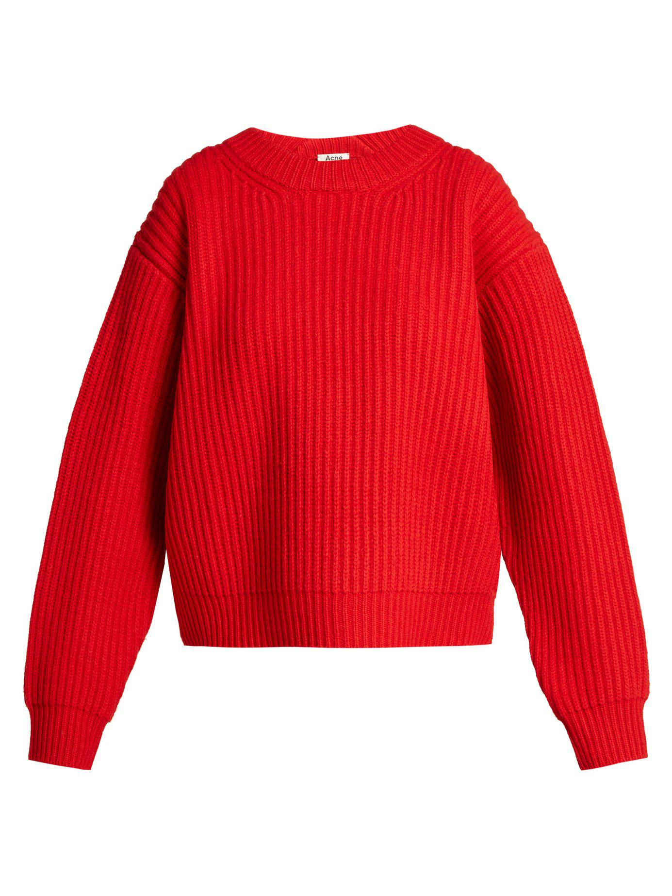 a0088a95d2bb Lyst - Acne Studios Oversized Wool Knit Sweater in Red