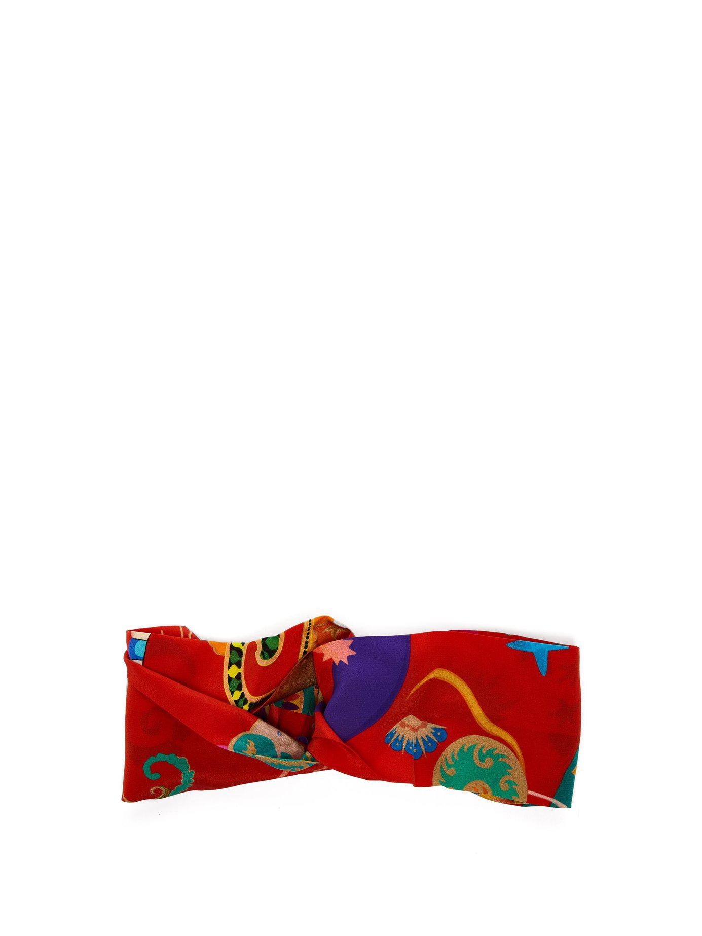 7a10bc88517 Lyst - Etro Floral Print Silk Headband in Red