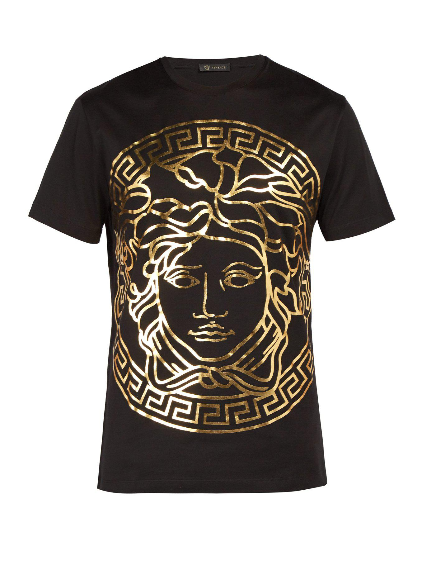 Lyst Versace Medusa Gold Print T Shirt In Black For Men Save 120