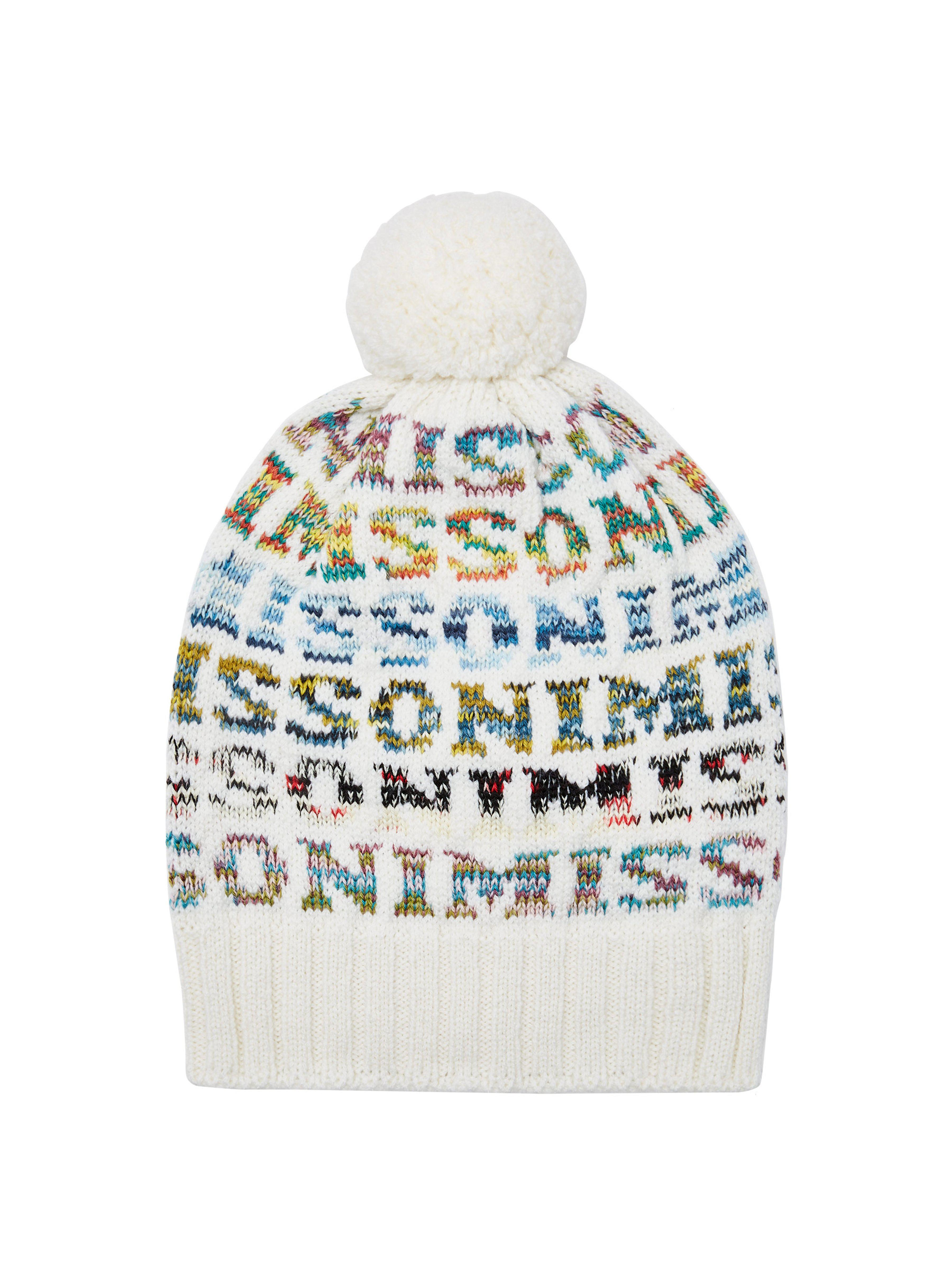 ab8c0f1c3ab Missoni - White Logo Knit Wool Beanie Hat - Lyst. View fullscreen